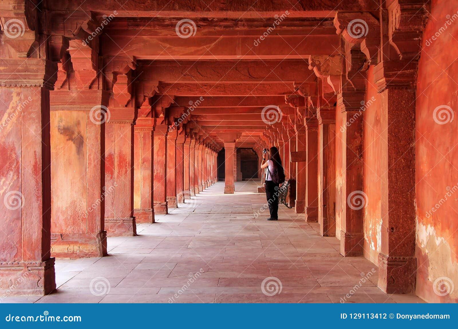 Kolonnade von Panch Mahal in Fatehpur Sikri, Uttar Pradesh, Indien
