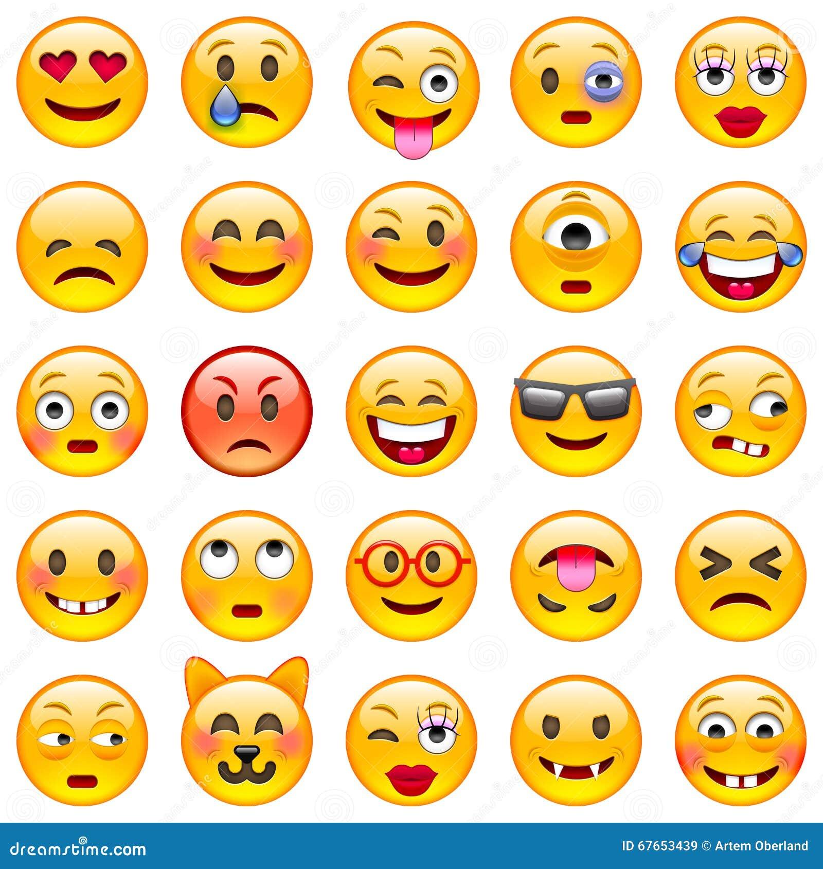 Kolorów łatwych emoticons ilustracyjny setu wektor Set Emoji