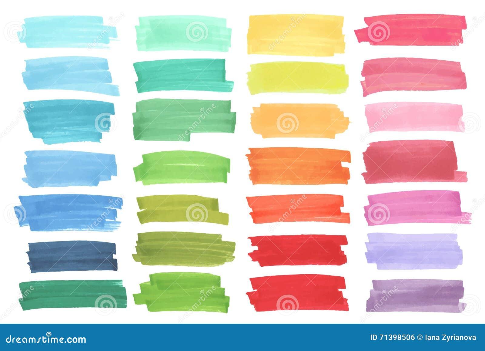 Kolorów sztandary rysujący z Japan markierami Eleganccy elementy dla projekta Wektorowy markiera uderzenie