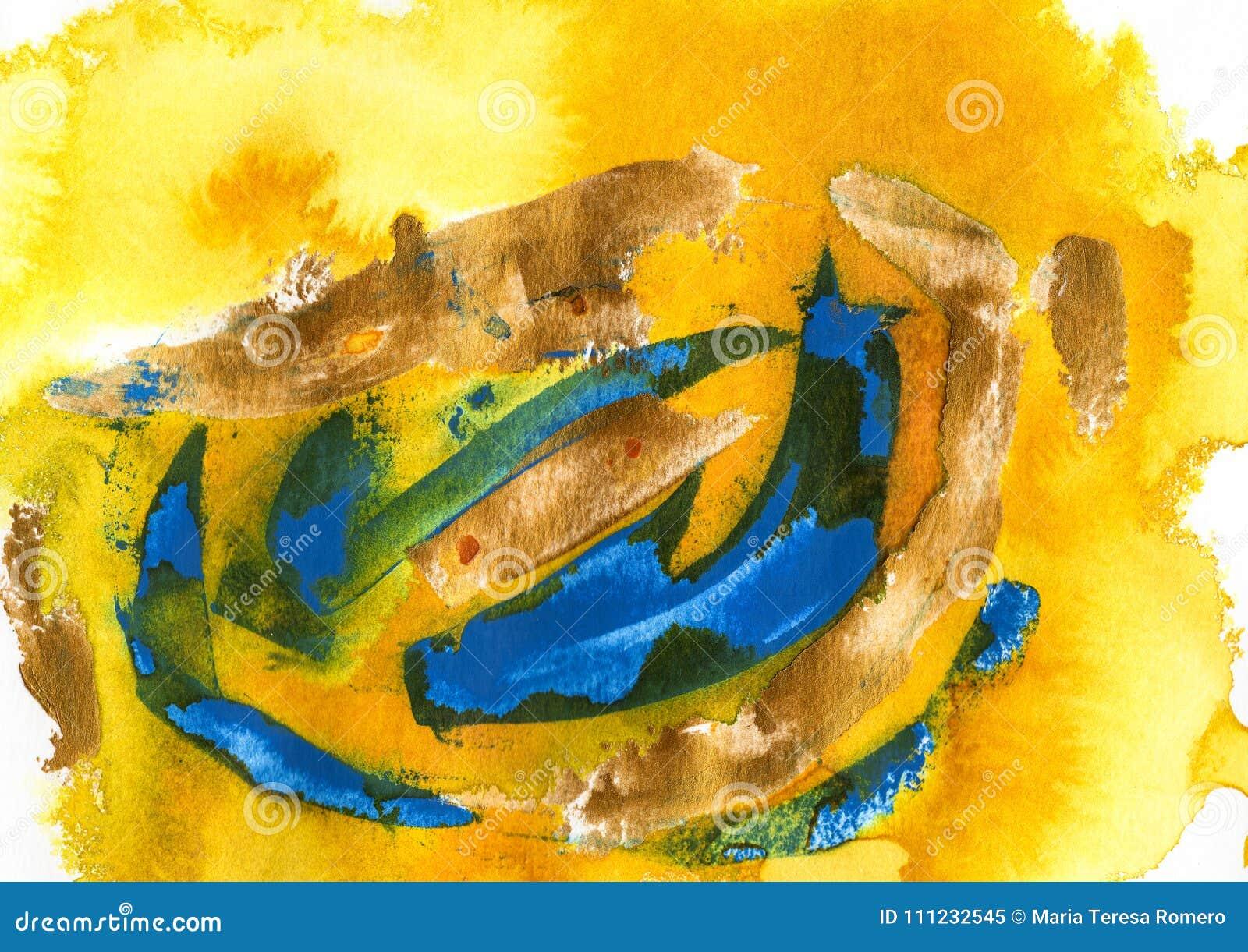 Kolor żółty, akrylowy i akwarela, błękitny i zielony