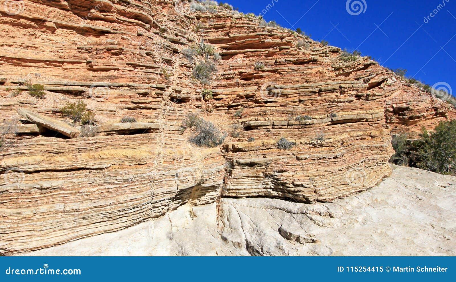 Kolor żółty i czerwienie machać skał warstwy, Duży chyłu park narodowy, usa