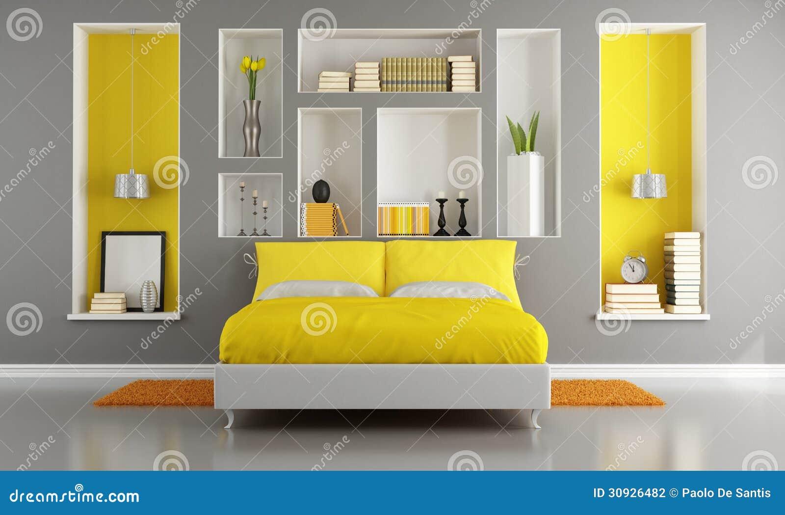 Kolor żółty I Szara Nowożytna Sypialnia Ilustracji