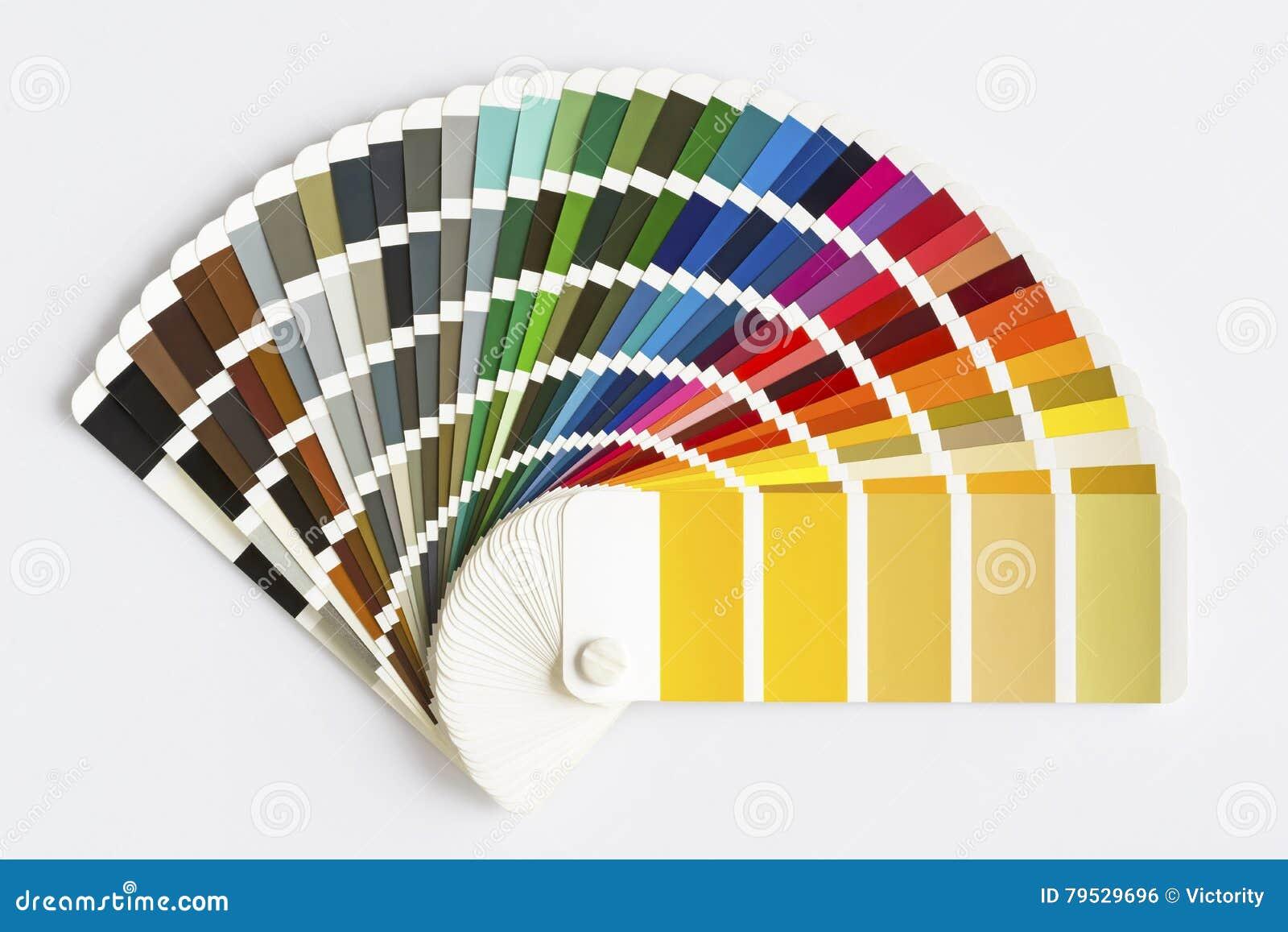 Kolor palety przewdonik odizolowywający na białym tle Próbka kolorów katalog