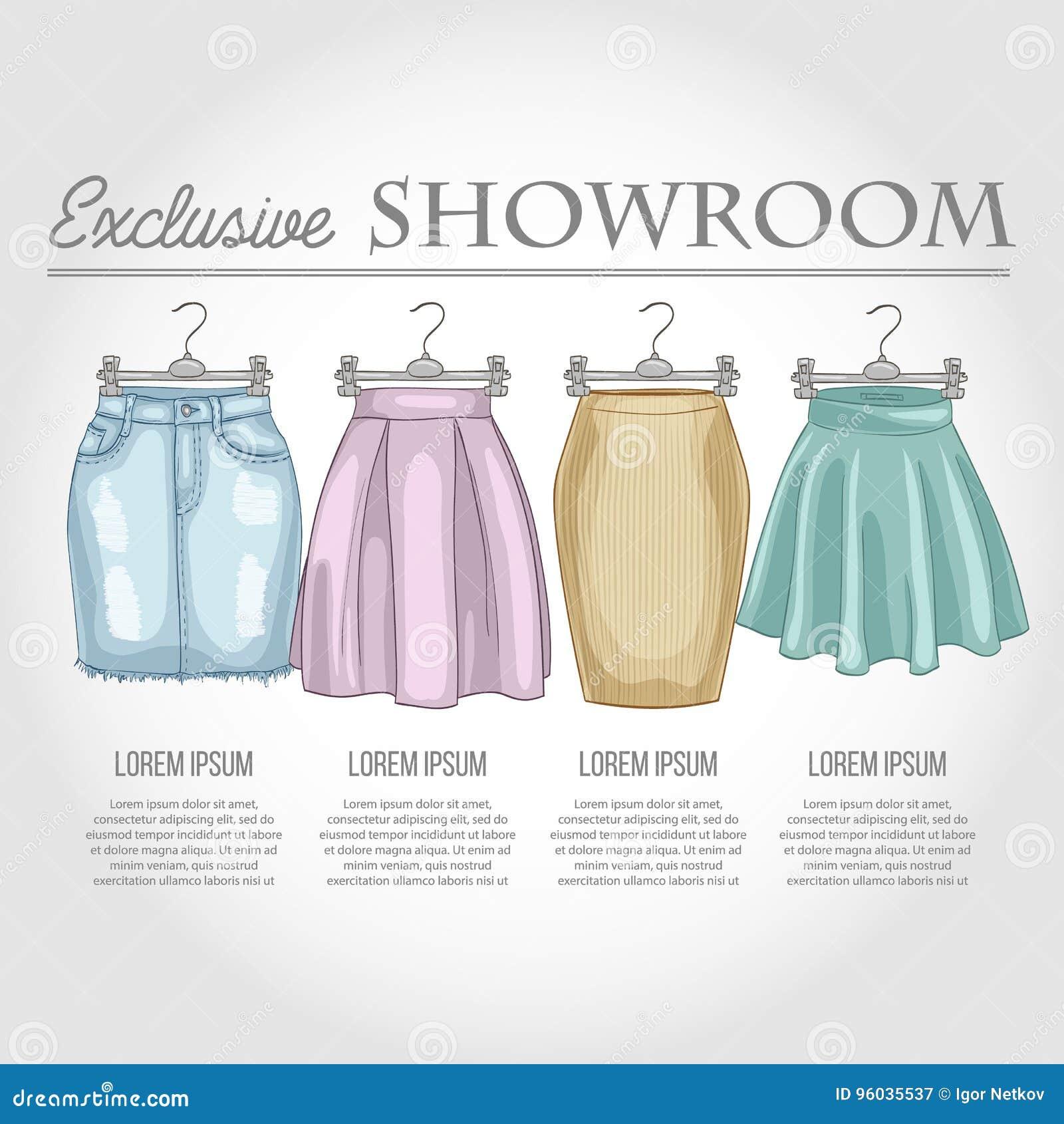 Kolor sala wystawowa ustawiająca kobiet przypadkowi ubrania