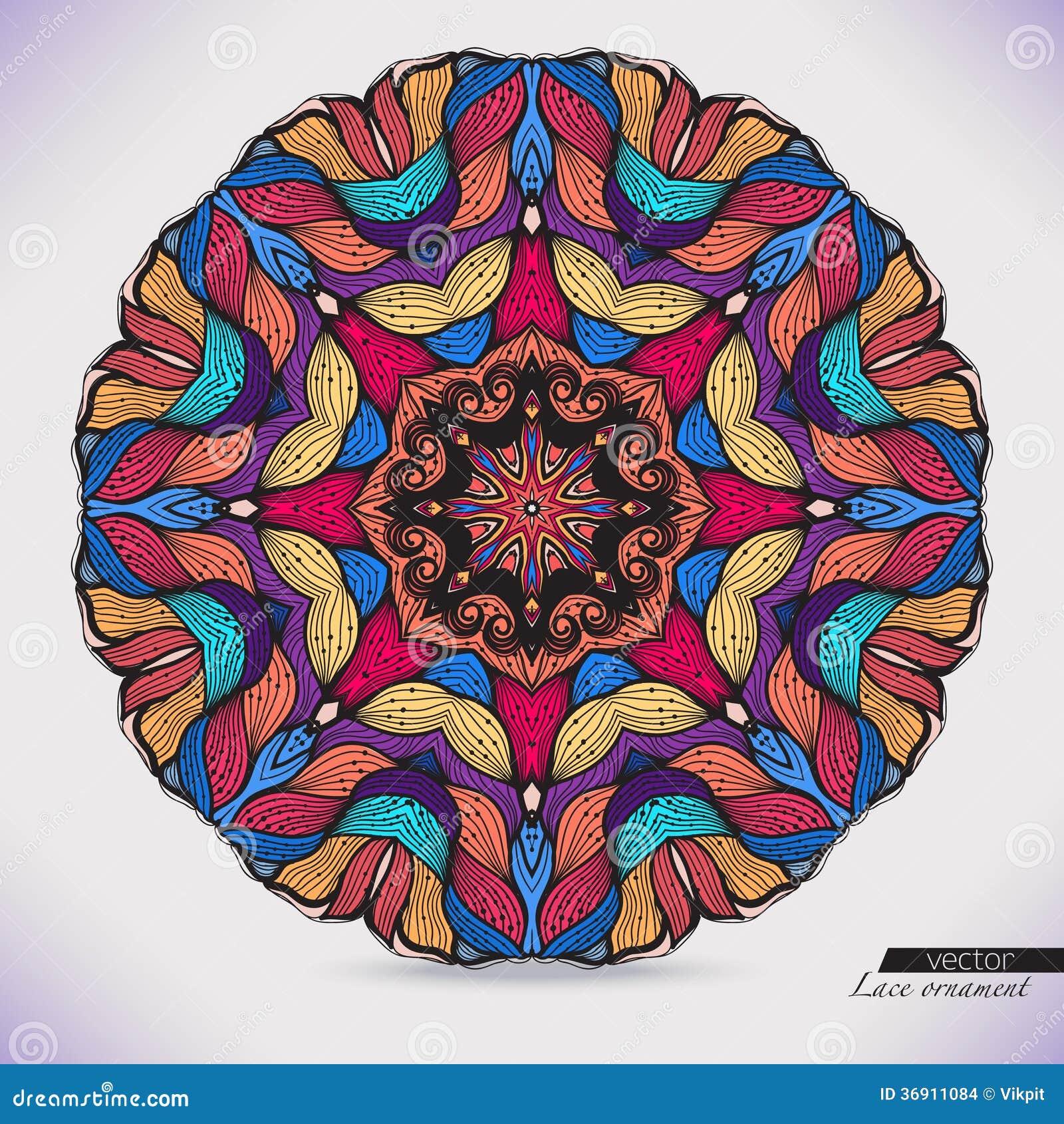 Kolorowa abstrakcjonistyczna wektorowa kurendy koronka.