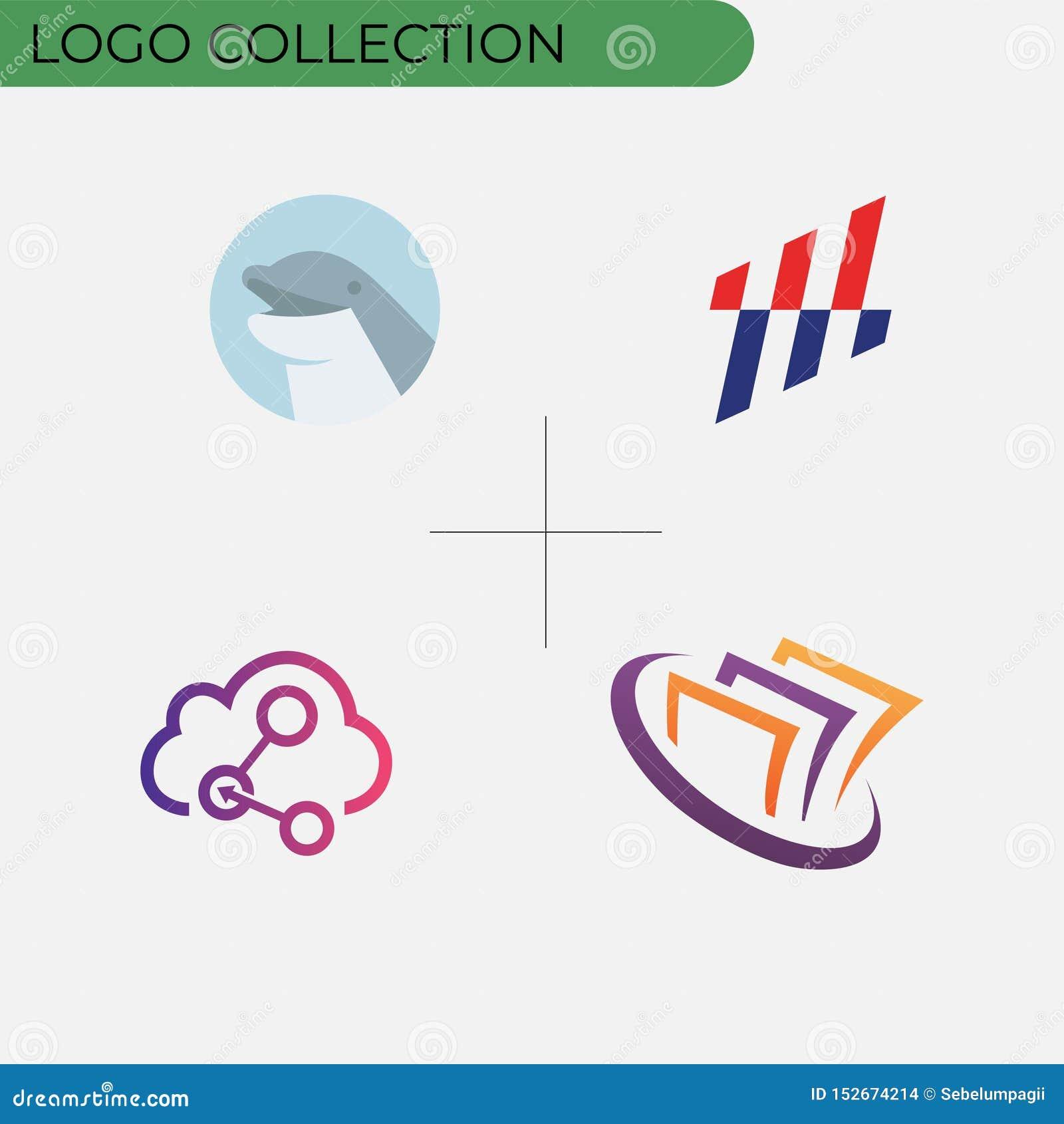 Kolorowa biznesowa logo kolekcja