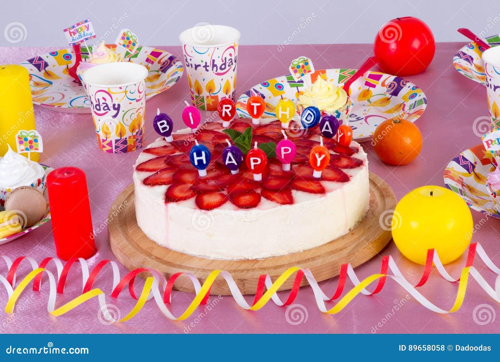 Kolorowa Dekoracja Przyjęcie Urodzinowe Stół Z Tortem I Cukierkami
