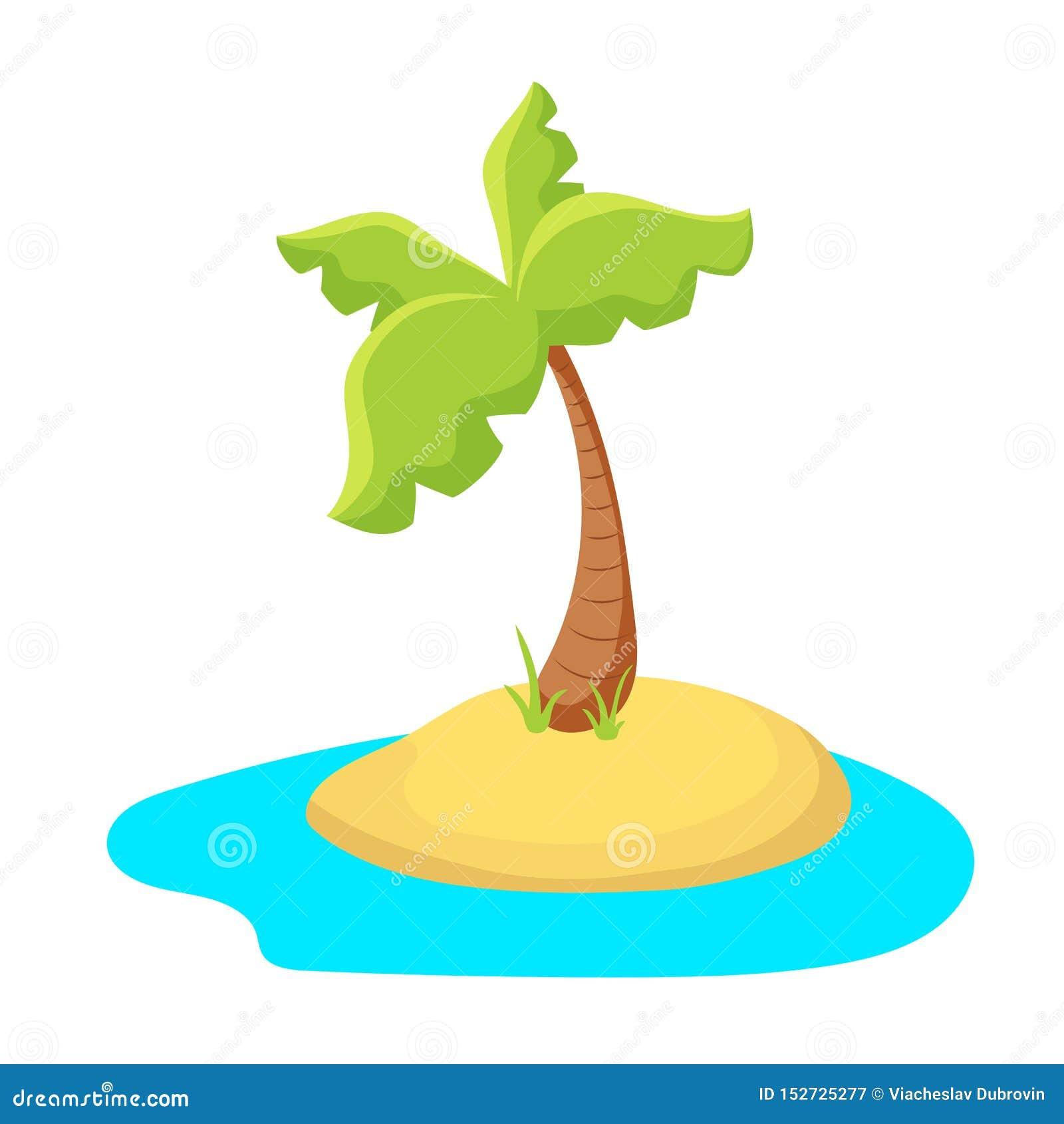 Kolorowa drzewko palmowe wyspa Tropikalna wyspa w morzu Palmowej wyspy kreskówki wektorowa ilustracja na białym tle