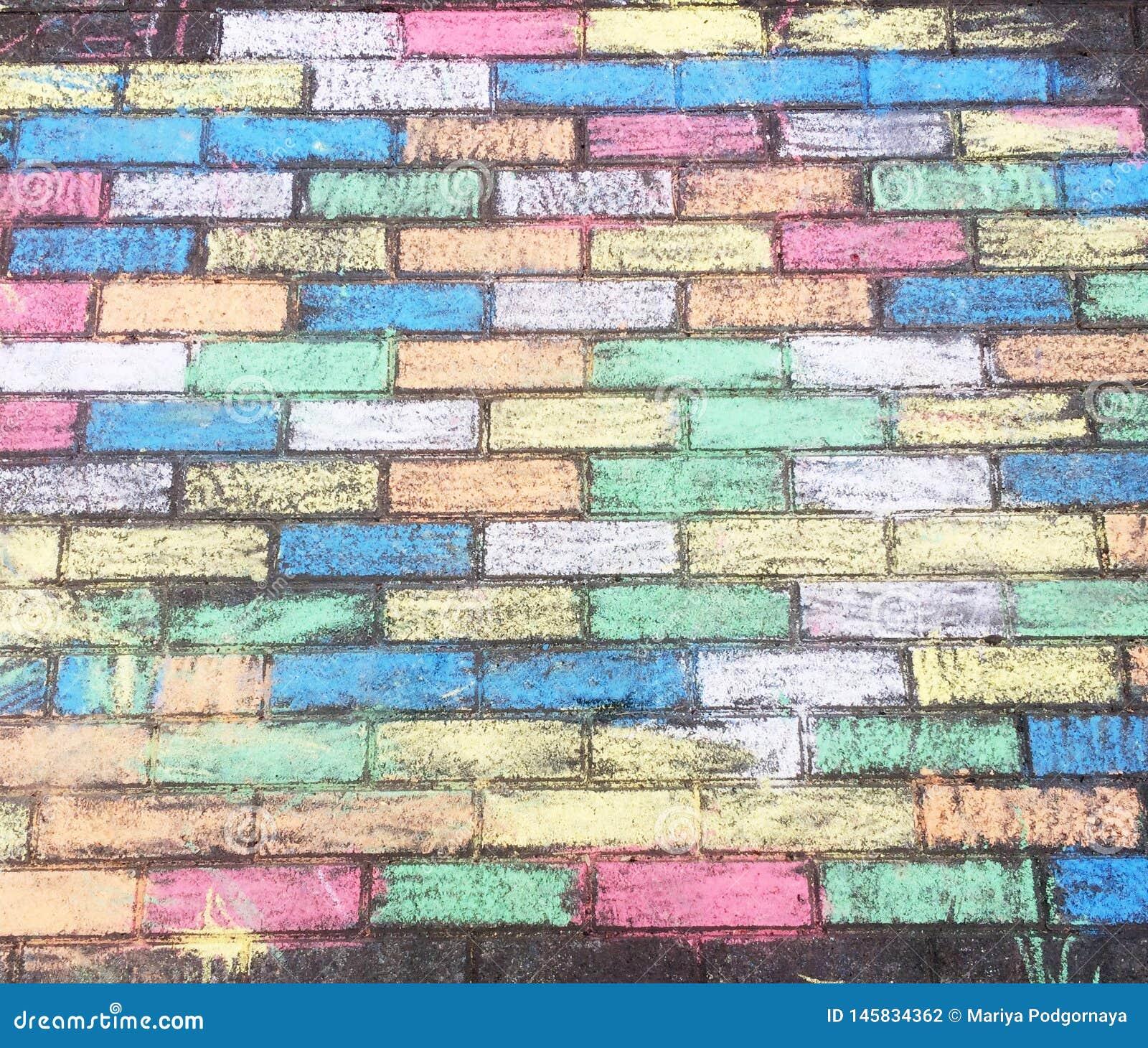 Kolorowa kreda brukowe cegiełki tworzył dziećmi z pastelowymi kolorami