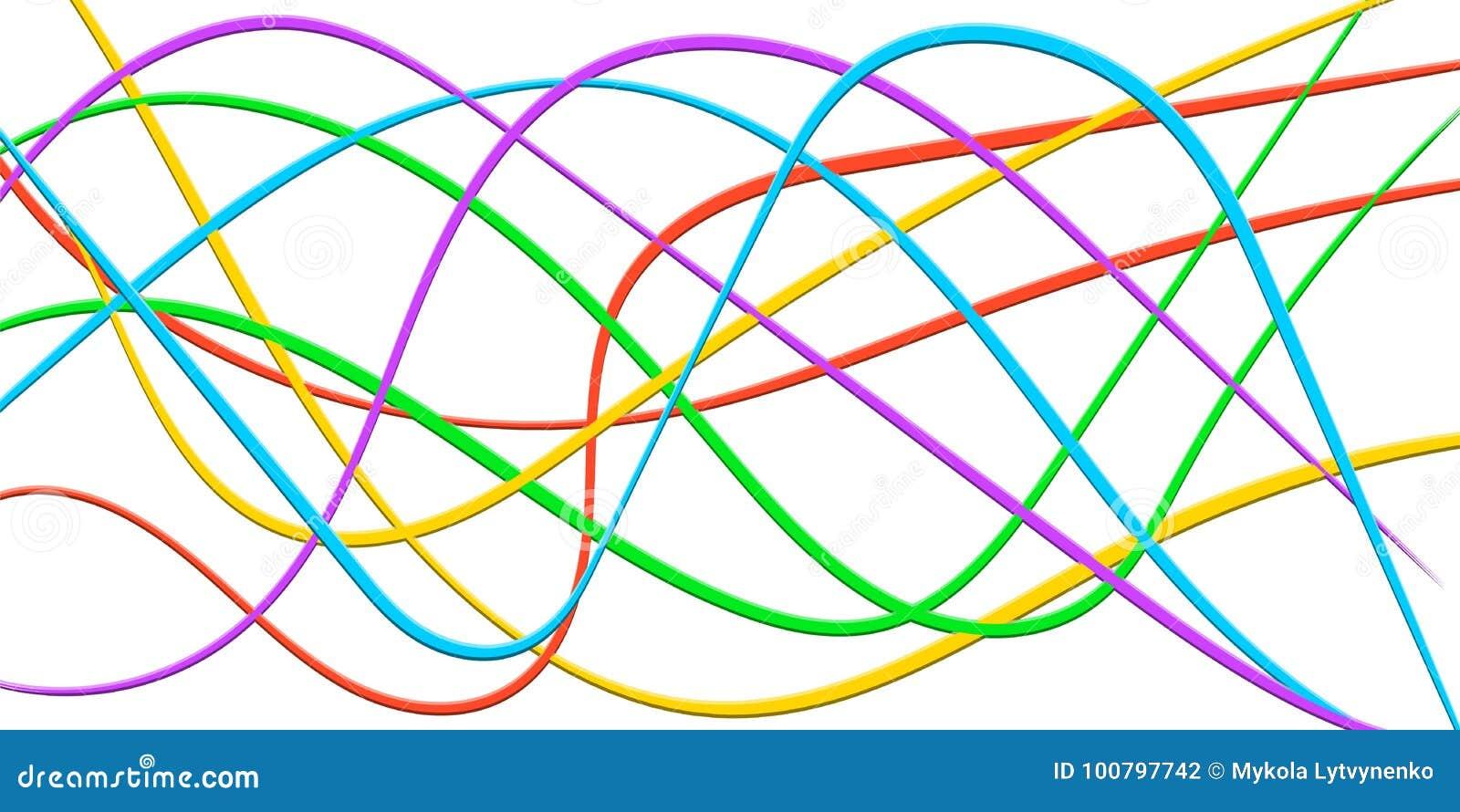 Kolorowa linia Obdziera faborek 3D, abstrakcjonistyczna wygina się tęczy fala, wektorowy Kolorowy jaskrawy tło kabel, błyskawiczn