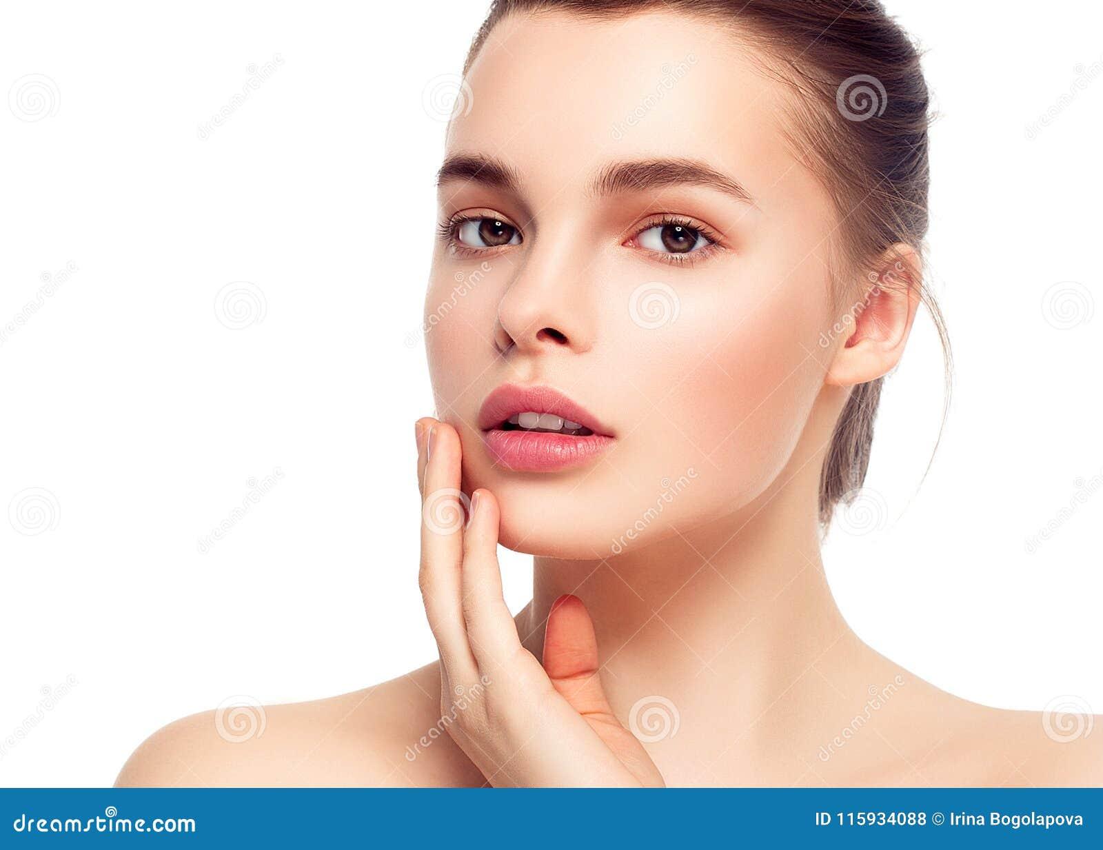 Kolorowa makijaż kobiety twarz, piękni brunetki lata makeup wi