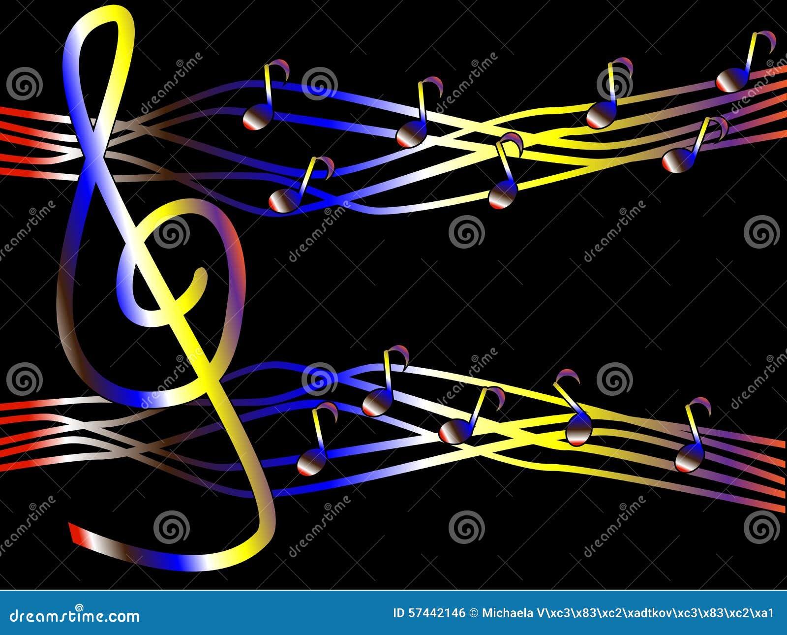Fiery Treble Clef In Rainbow Flames: Kolorowa Muzyka W Postaci Treble Notatek I Clef Ilustracji