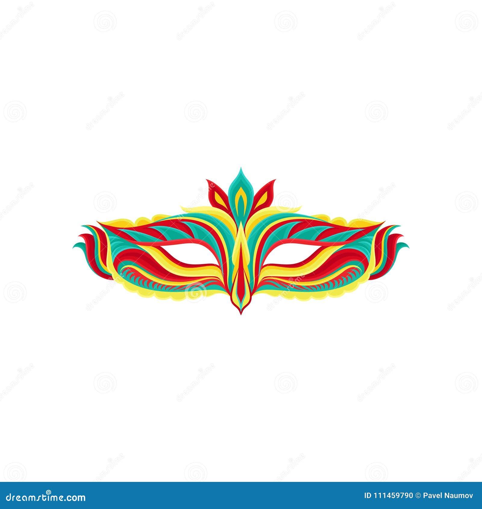 Kolorowa płaska wektorowa ikona piękna maskarady maska Jaskrawy akcesorium dla karnawału przyjęcia Dekoracyjny element dla