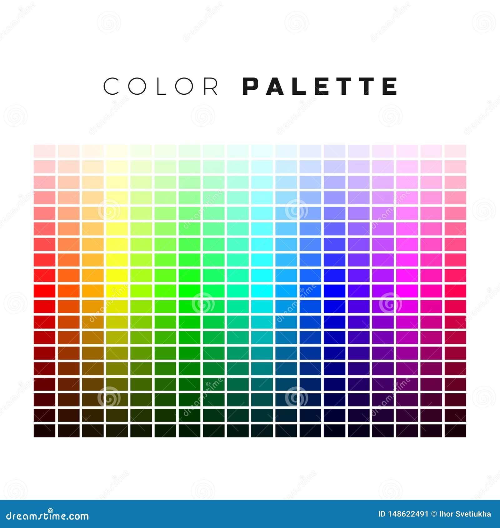 Kolorowa paleta Set jaskrawi kolory t?czy paleta Pe?ny widmo kolory Wektorowa ilustracja odizolowywaj?ca na bielu
