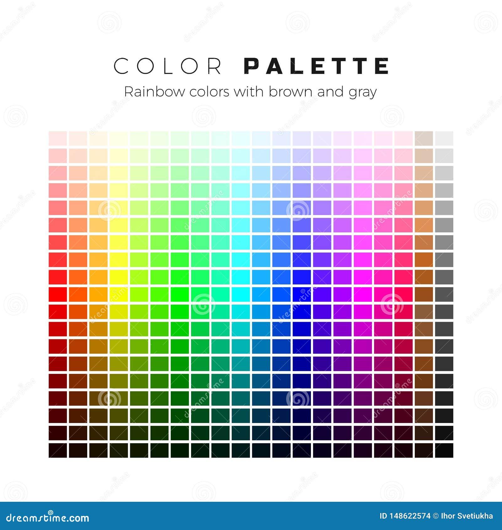 Kolorowa paleta Set jaskrawi kolory t?czy paleta Pe?ny widmo kolory z br?zu i szaro?? cieniami r?wnie? zwr?ci? corel ilustracji w