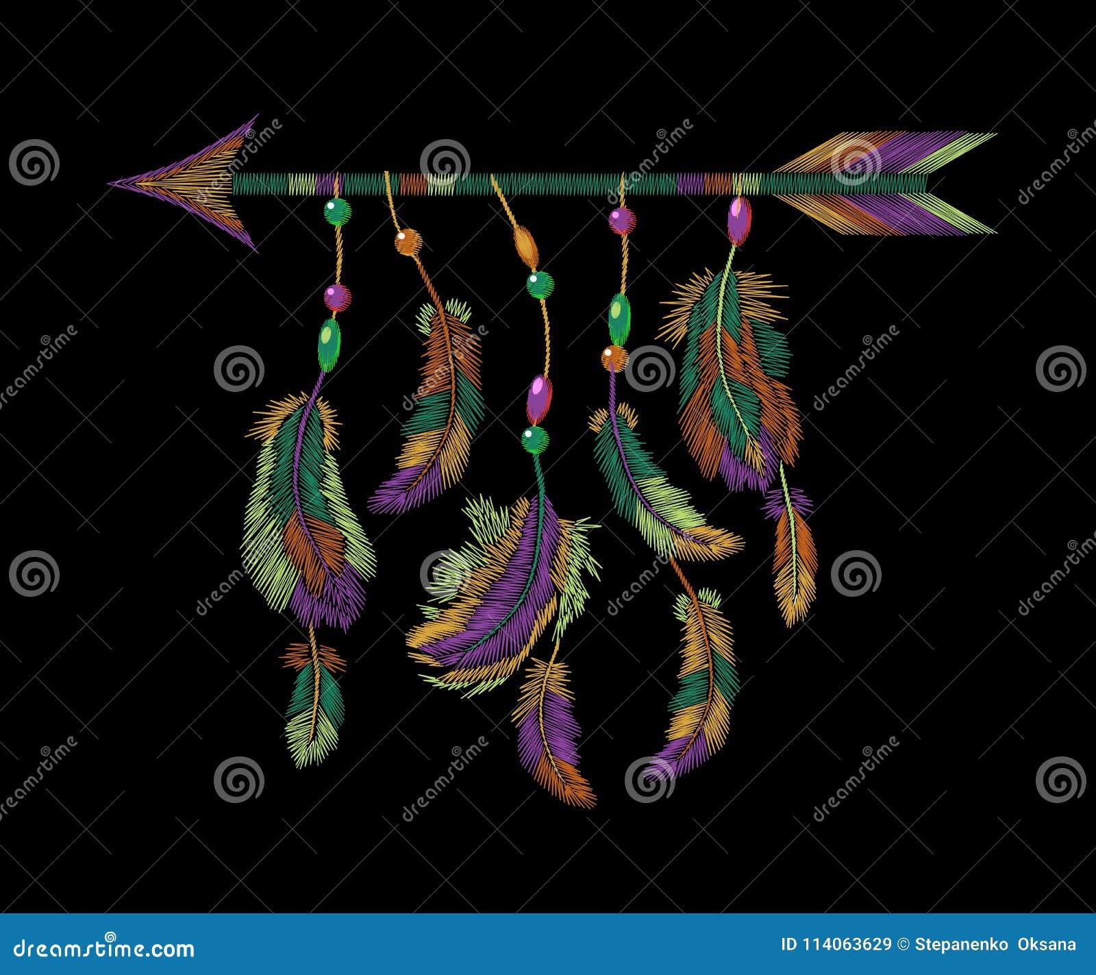 Kolorowa piórko strzała broderia Boho ubrań plemiennego amerykańsko-indiański ptasiego motywu etniczny upiększony tło