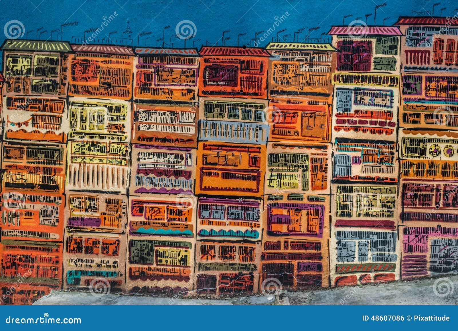 Kolorowa projekta rysunku ulicy ściany Soho centrala Hong Kong