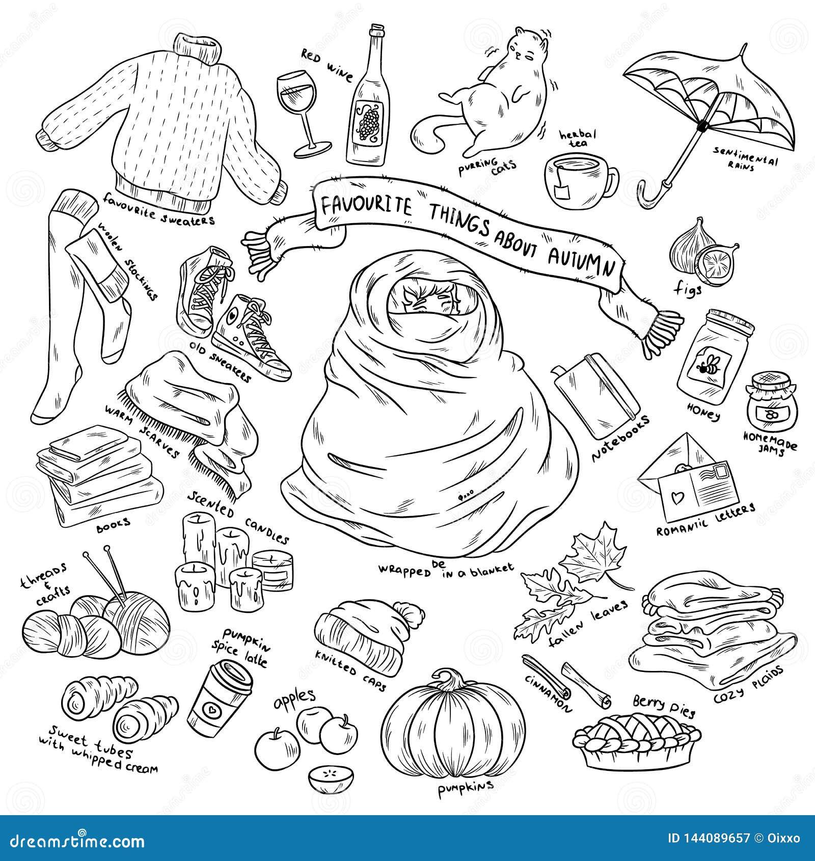Kolorowa ręka rysująca doodle majcherów kreskówka ustawiająca jesień protestuje z literowaniem