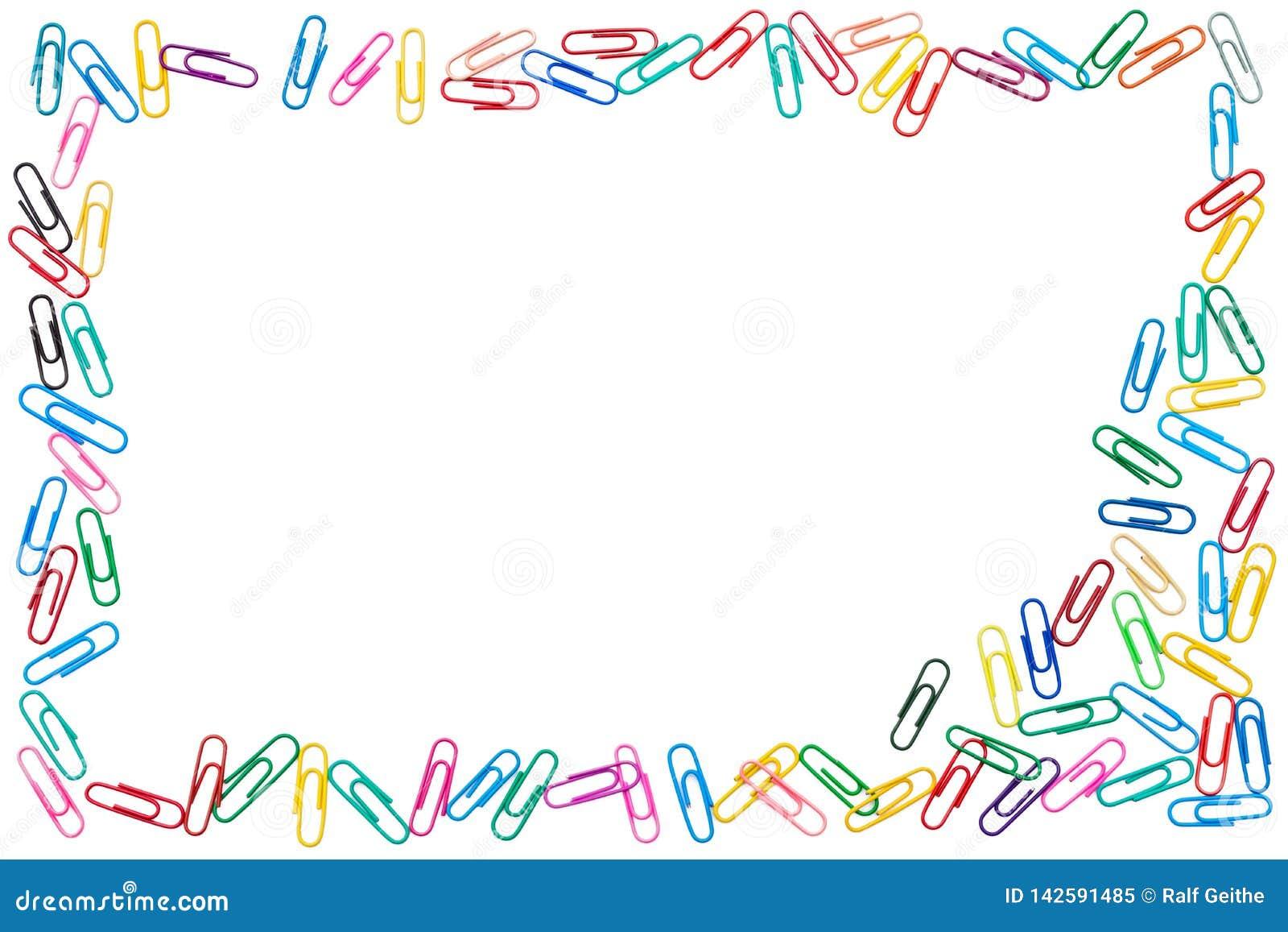 Kolorowa rama cluttered papierowe klamerki