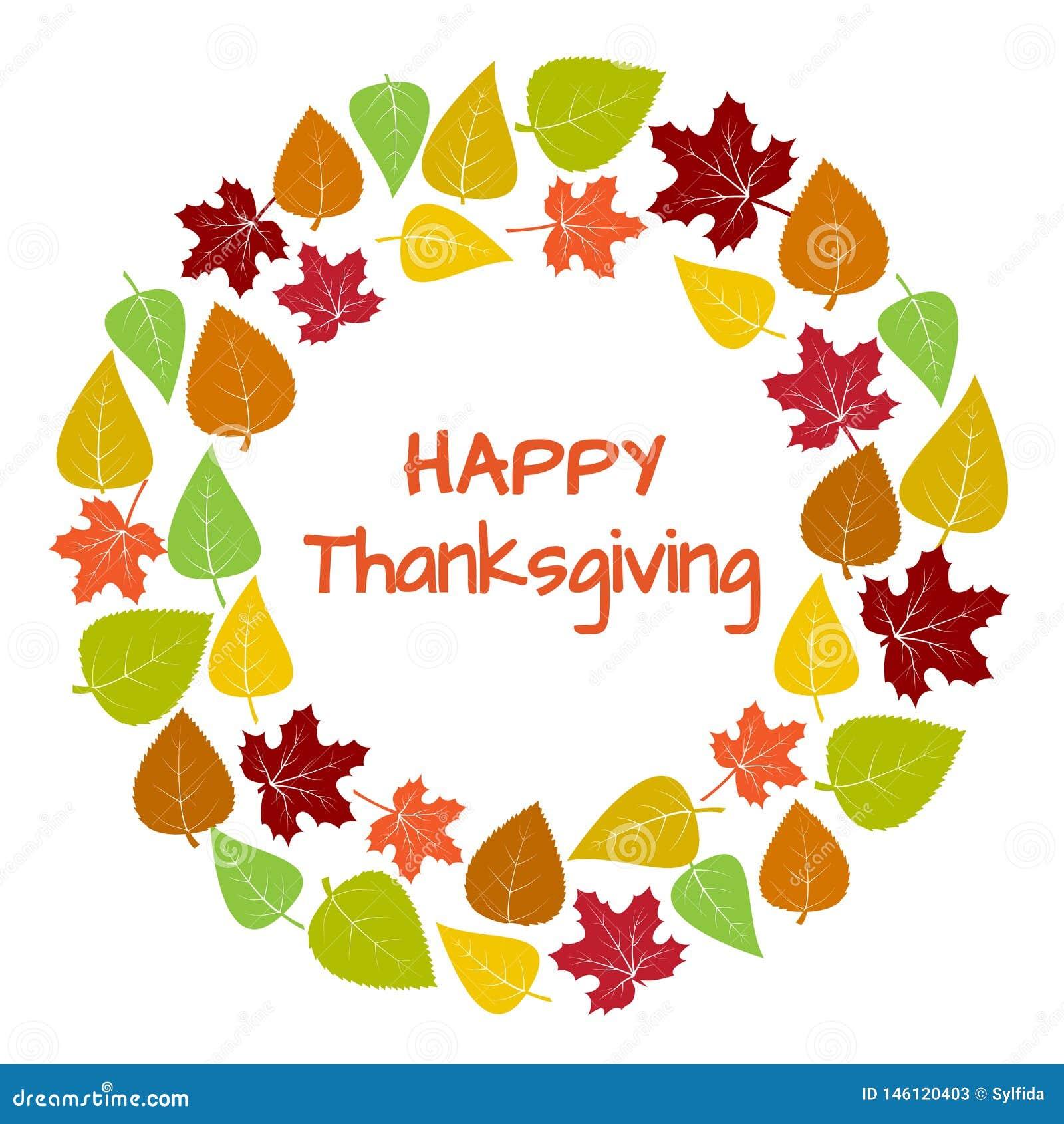 Kolorowa round rama i tło jesień liście dla Szczęśliwego dziękczynienia wektor