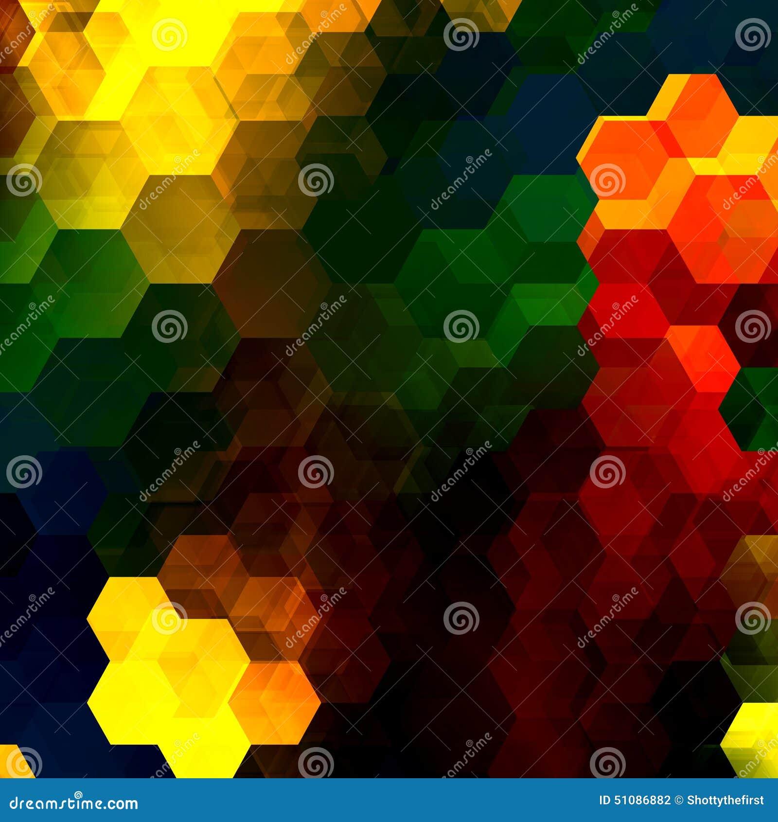 Kolorowa sześciokąt mozaika Abstrakt Pokrywa się sześciokąty dekoracyjny artystyczny tło nowożytna cyfrowa sztuka Stubarwni kszta