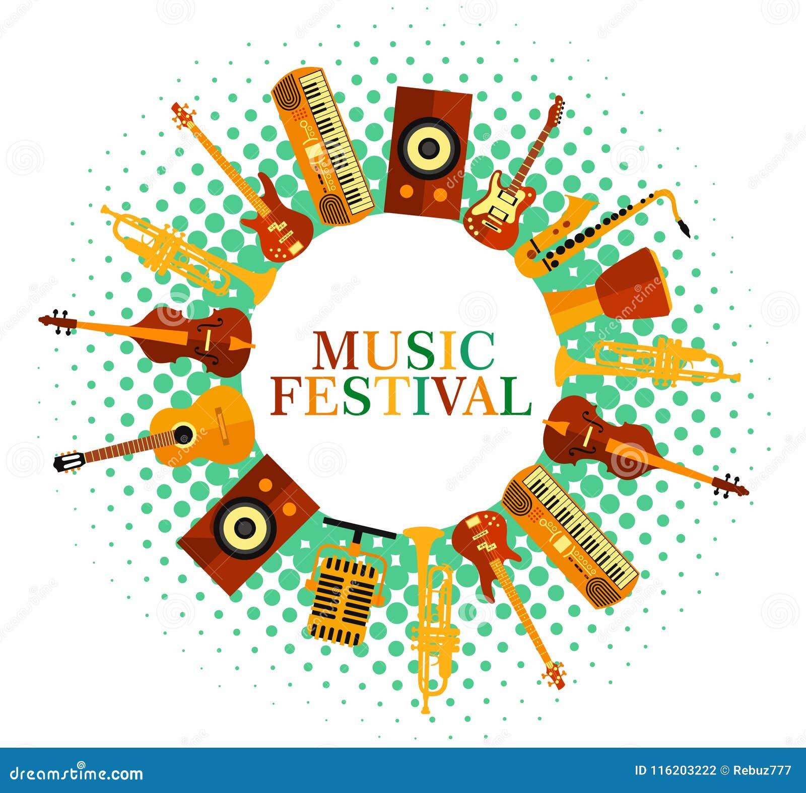Kolorowa Tło Muzyka Muzyczni Instrumenty Festiwalu Muzyki