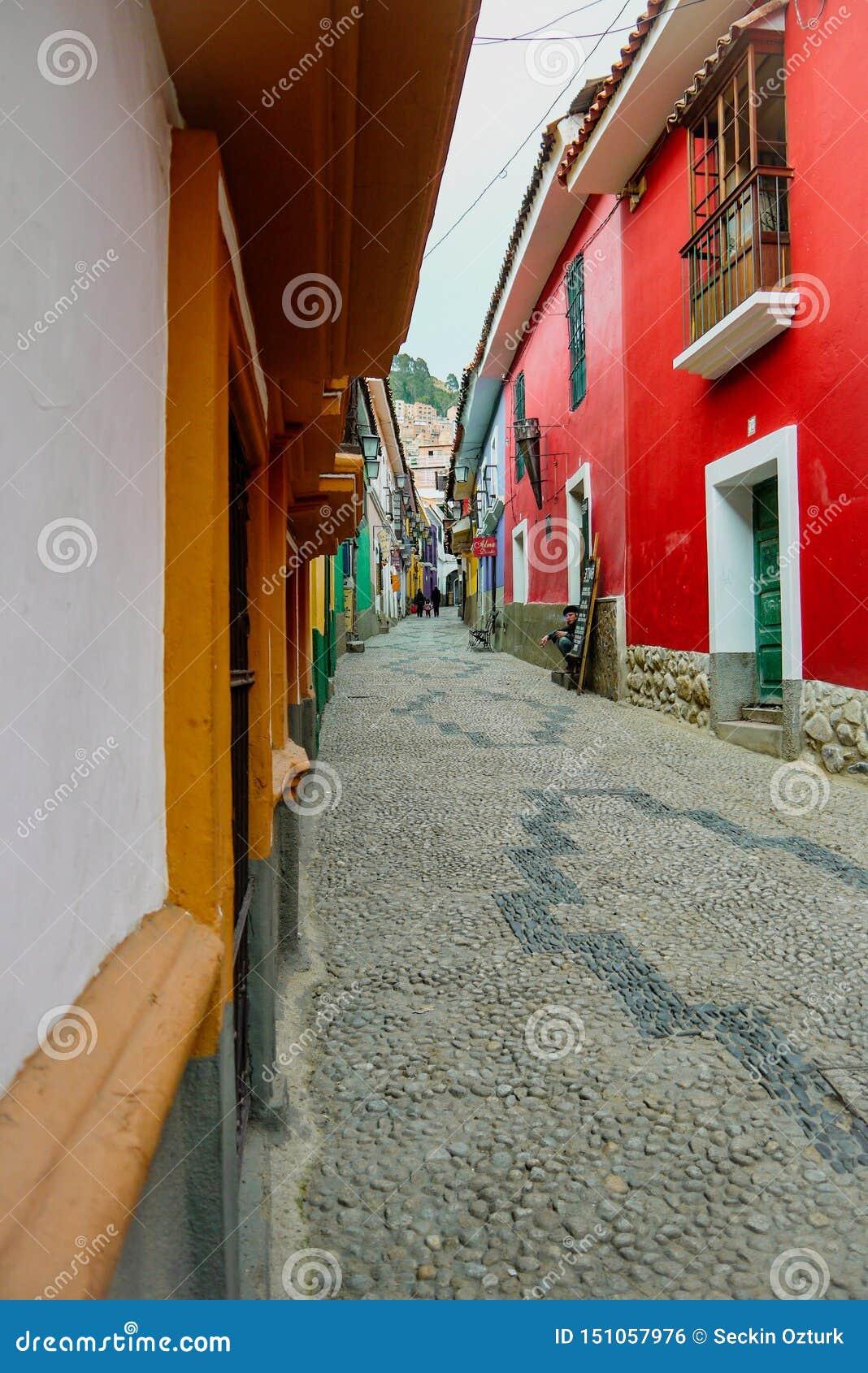 Kolorowa ulica w losie angeles Paz, Boliwia
