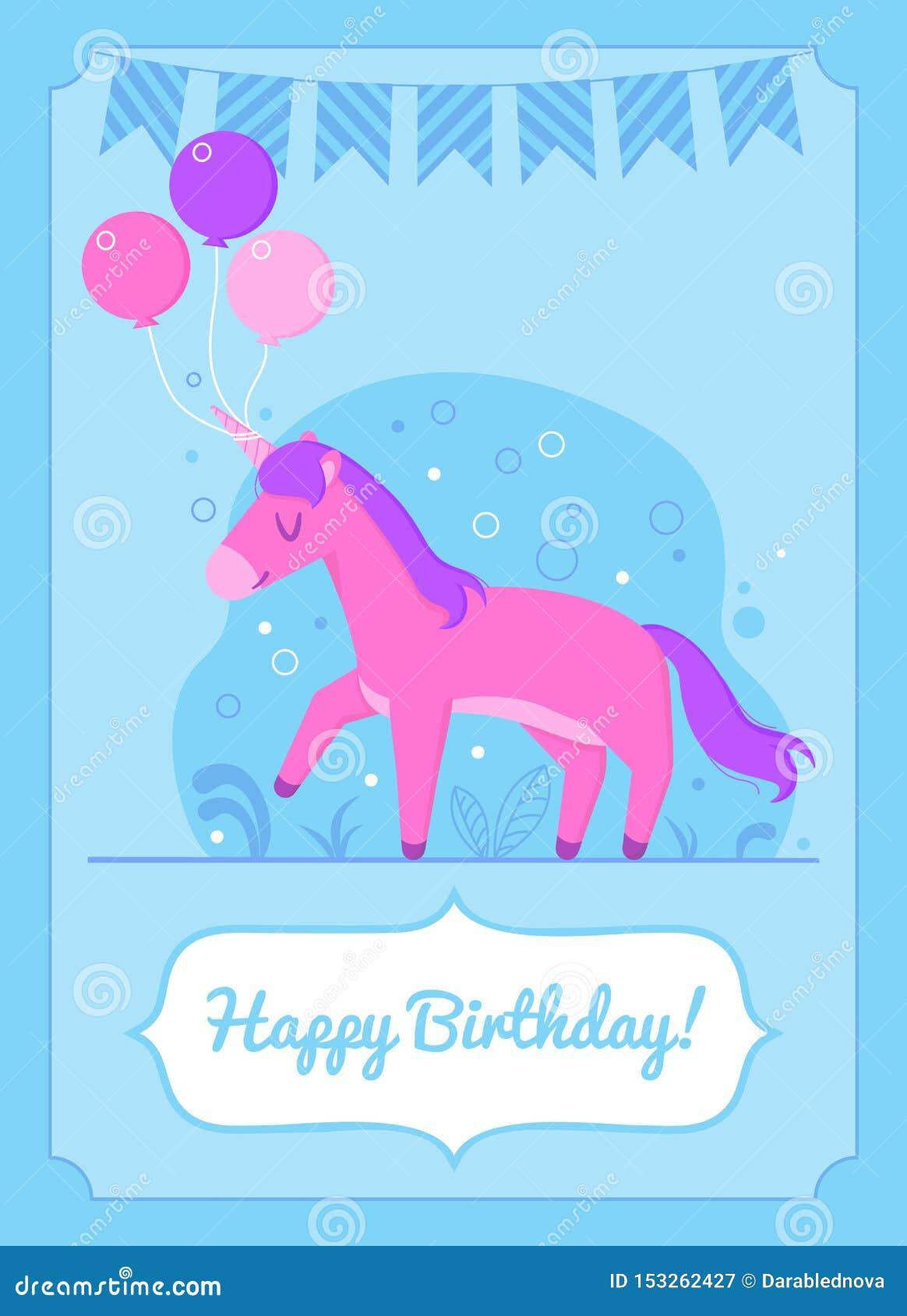 Kolorowa urodzinowej karty jednorożec szczęśliwa pozycja z balonami