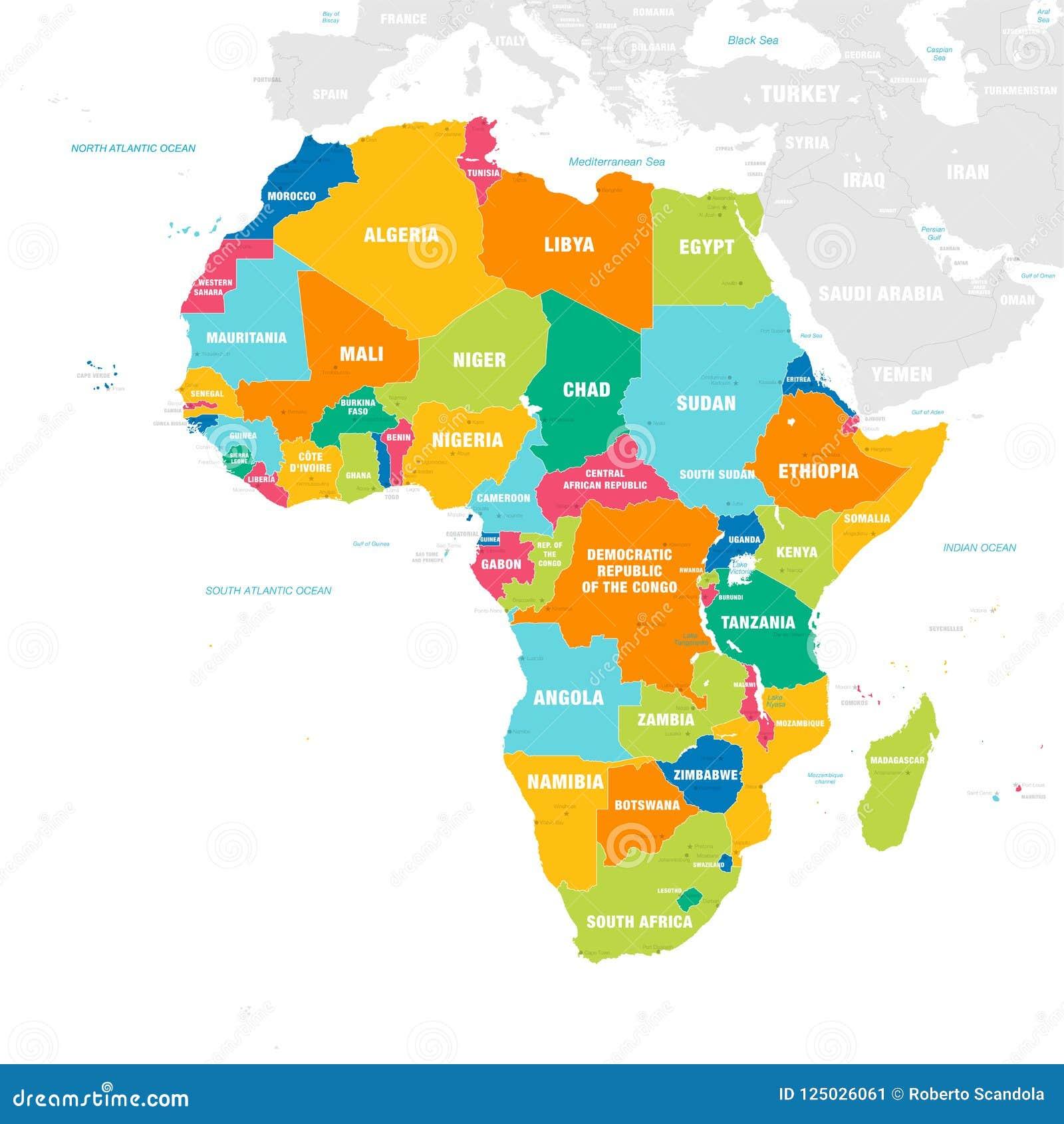 Kolorowa Wektorowa Mapa Afryka Ilustracja Wektor Ilustracja