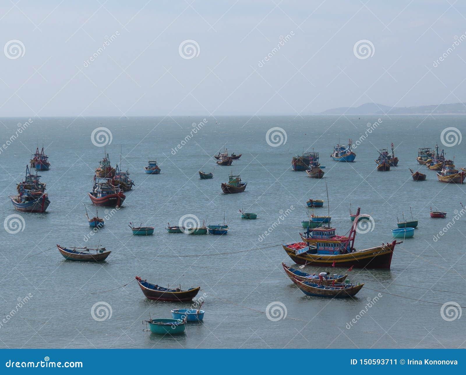 Kolorowe łodzie rybackie unoszą się w schronieniu Mui Ne, Wietnam