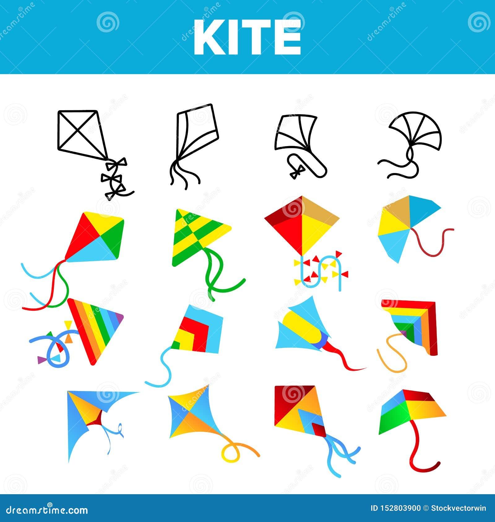 Kolorowe I zabawa kani Wektorowe Liniowe ikony Ustawiać