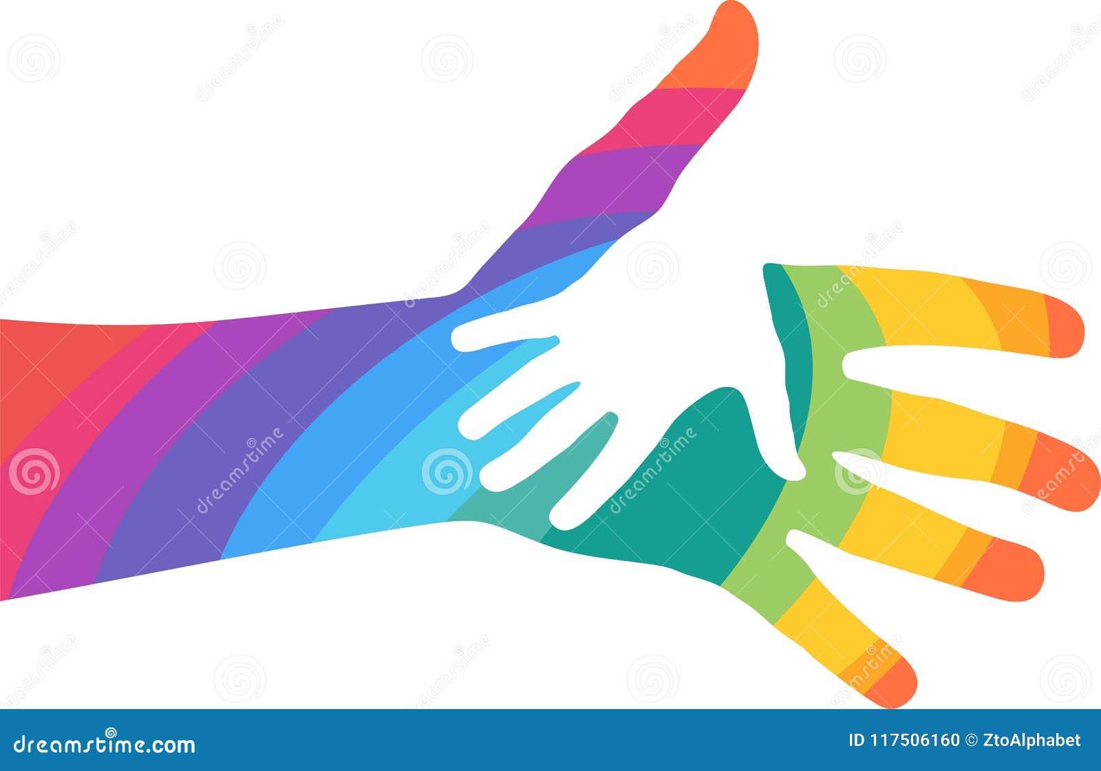 Kolorowe Pomocne Dłonie Na Białym Tle Ilustracja Wektor - Ilustracja  złożonej z dłonie, białym: 117506160