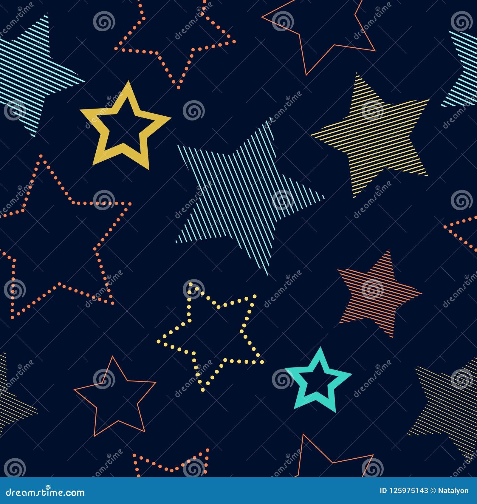 Kolorowe proste pasiaste i doted gwiazdy na błękitnym geometrycznym bezszwowym wzorze, wektor