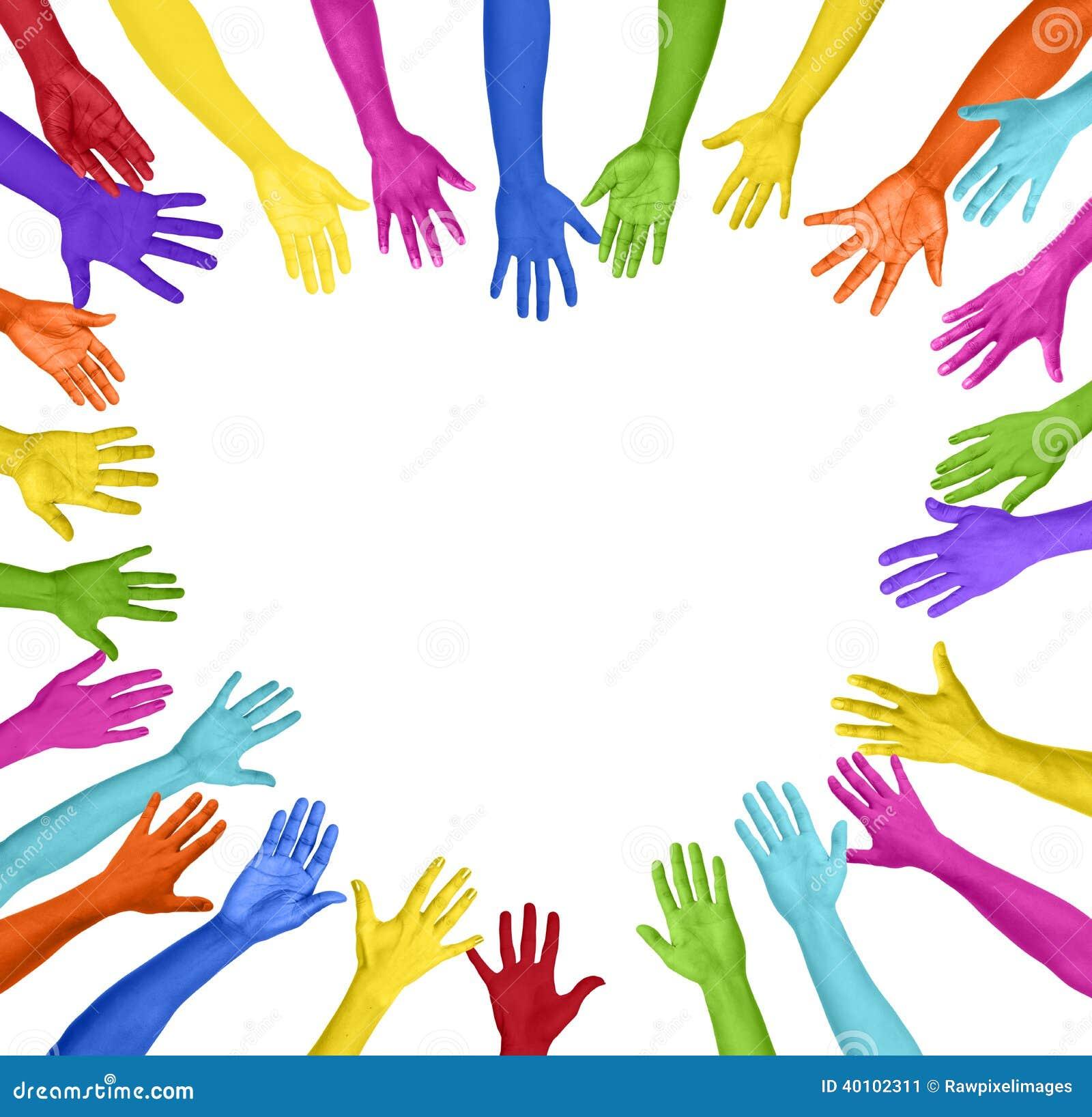 Kolorowe ręki Tworzy Kierowego kształt