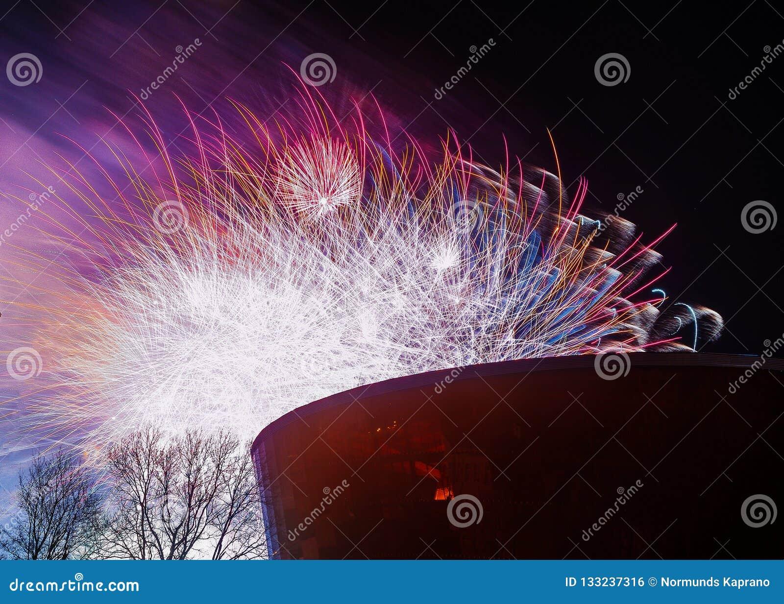 Kolorowe wybucha rakiety
