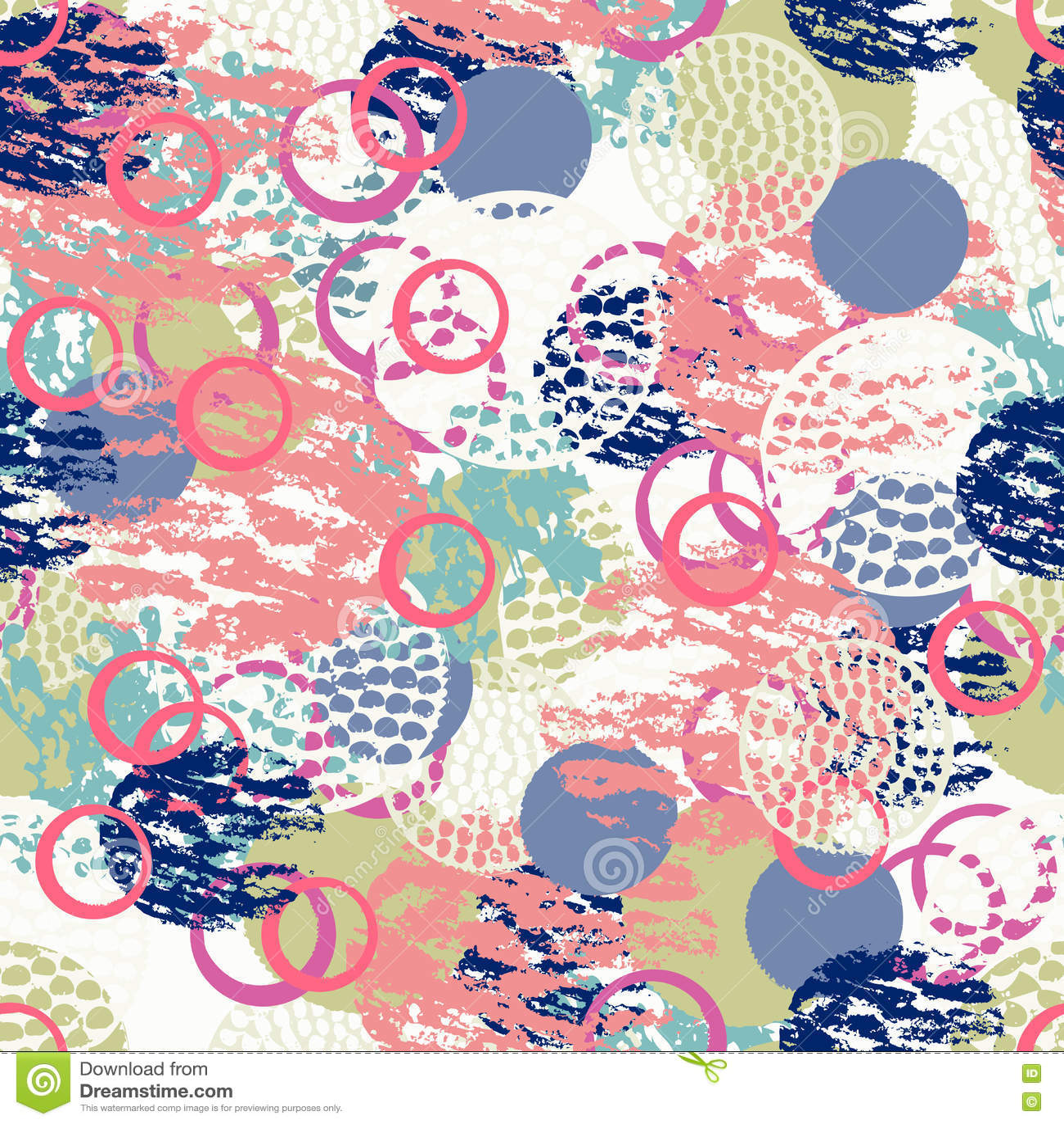 Kolorowego grunge abstrakcjonistyczny bezszwowy wzór z różnym muśnięciem muska i kształtuje