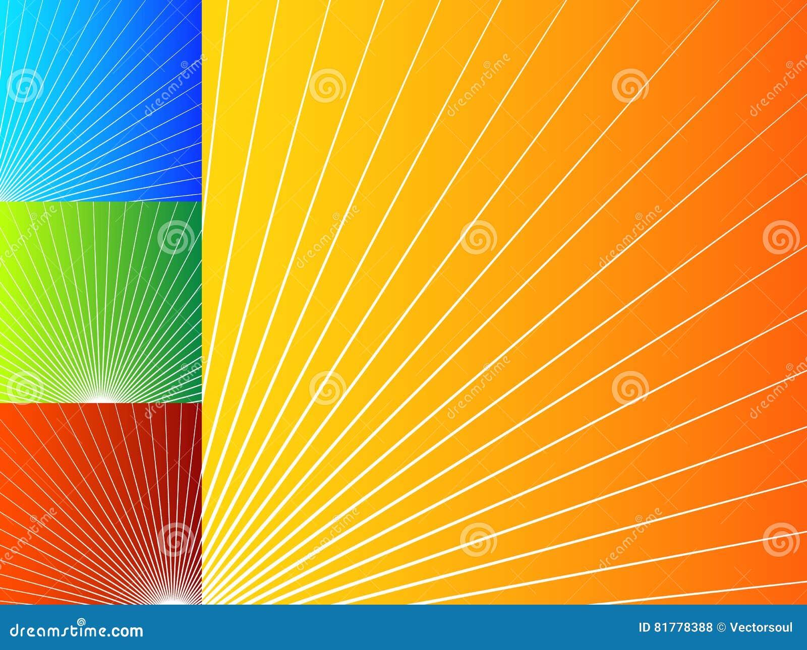 Kolorowi abstrakcjonistyczni tła z promieniowymi liniami