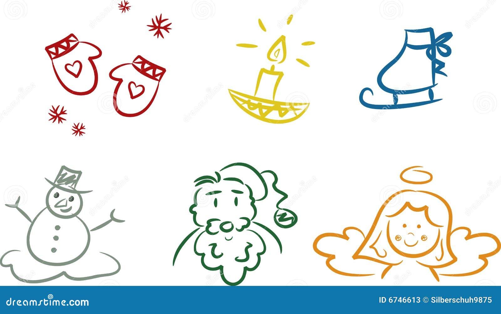 Kolorowi Bożych Narodzeń doodles