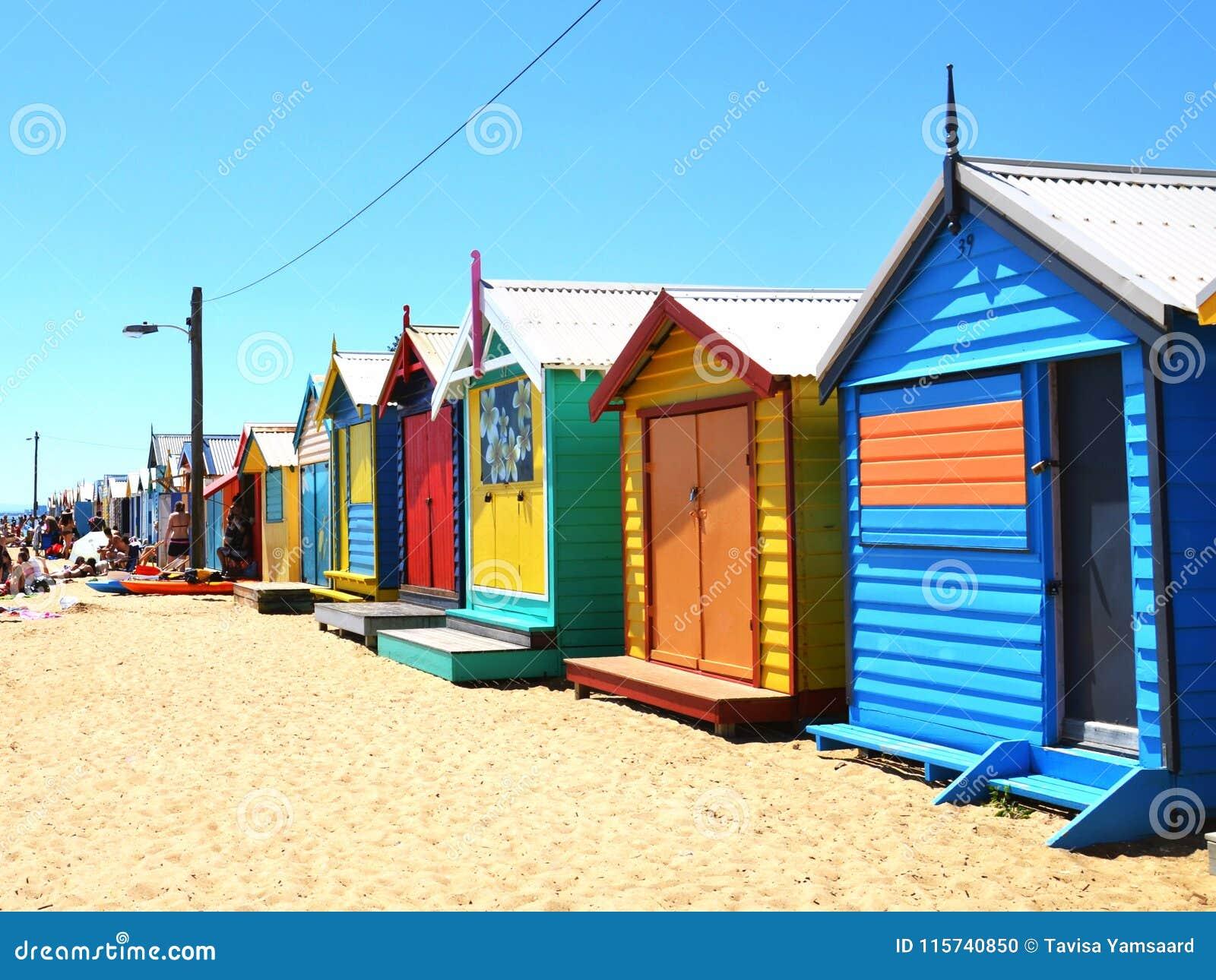 Kolorowi Brighton kąpania pudełka w Melbourne, Australia