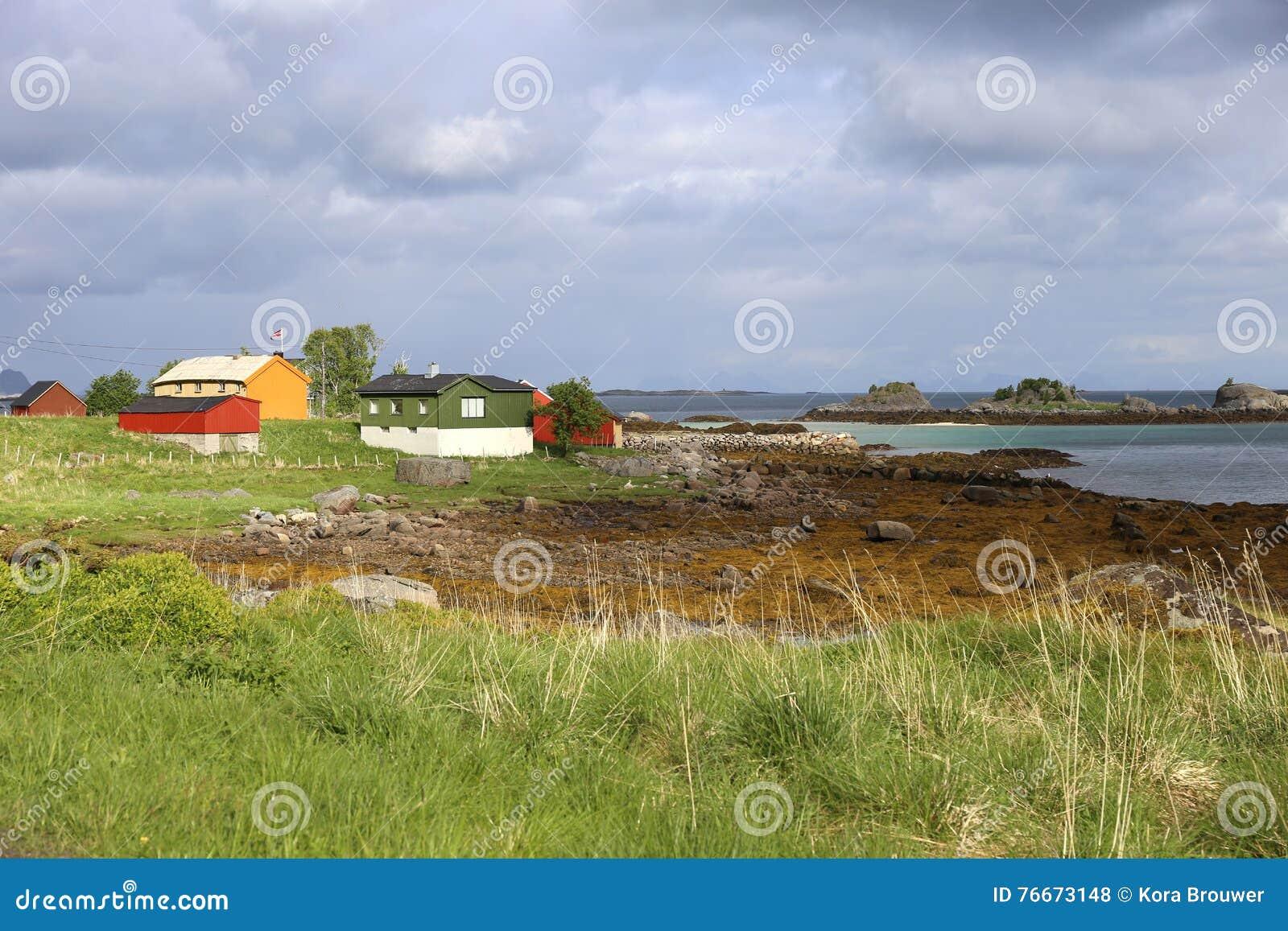 Kolorowi drewniani domy w kolorowym krajobrazie