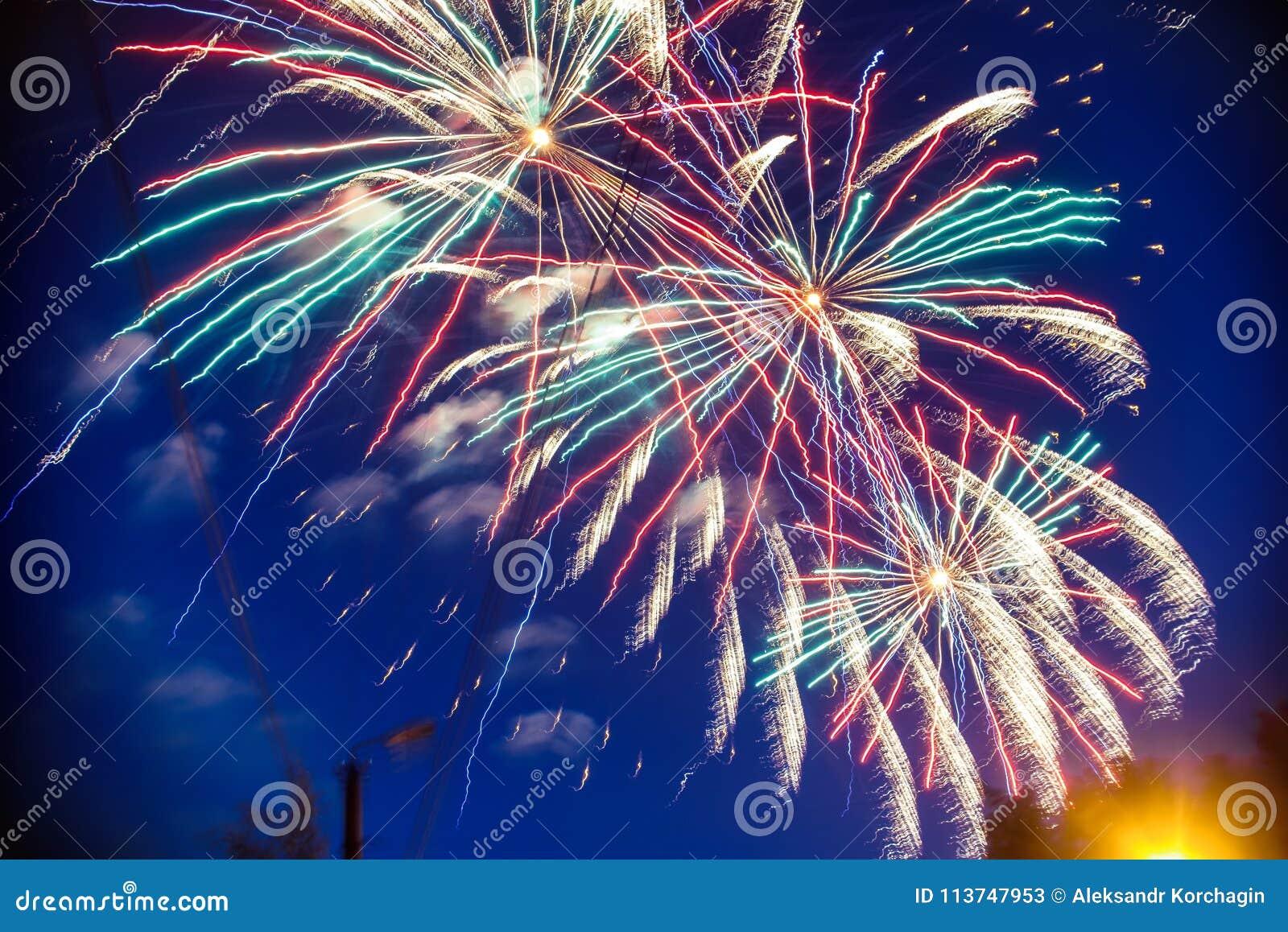 Kolorowi fajerwerki na tła nocnym niebie Wybuchy salut od pirotechnika