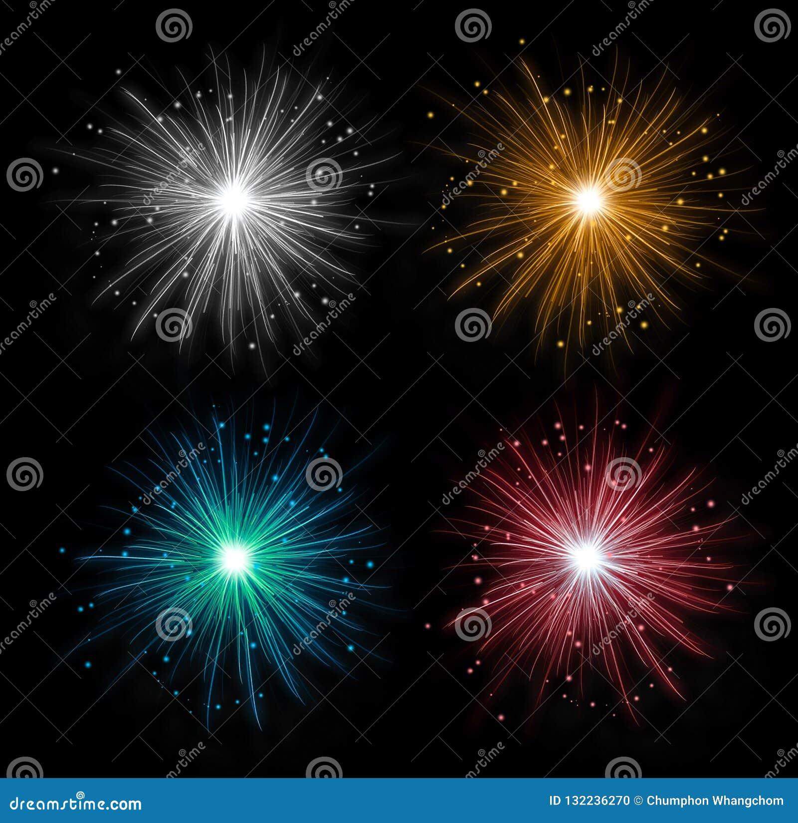 Kolorowi fajerwerki odizolowywający w czystym ciemnym tle Świętowanie świąteczna dekoracja
