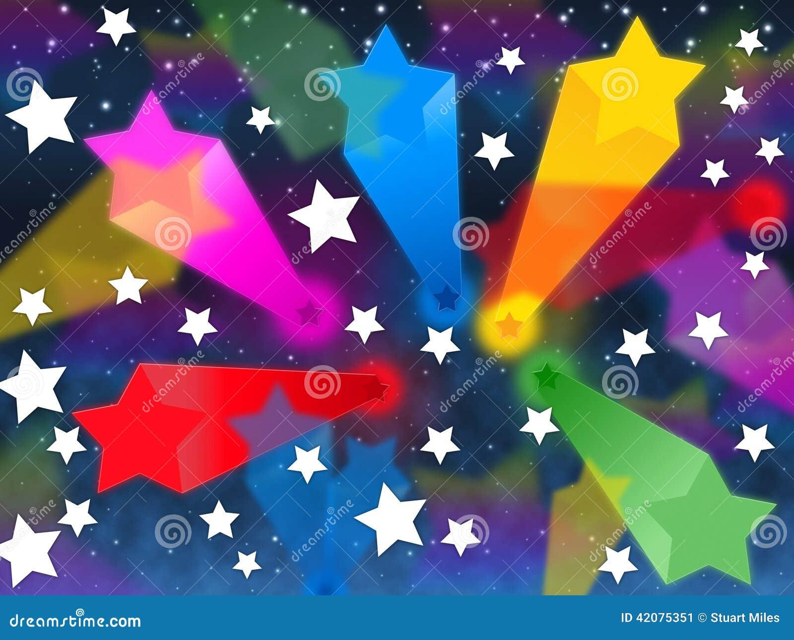 Kolorowi gwiazdy tła przedstawienia Strzela przestrzeń I kolory