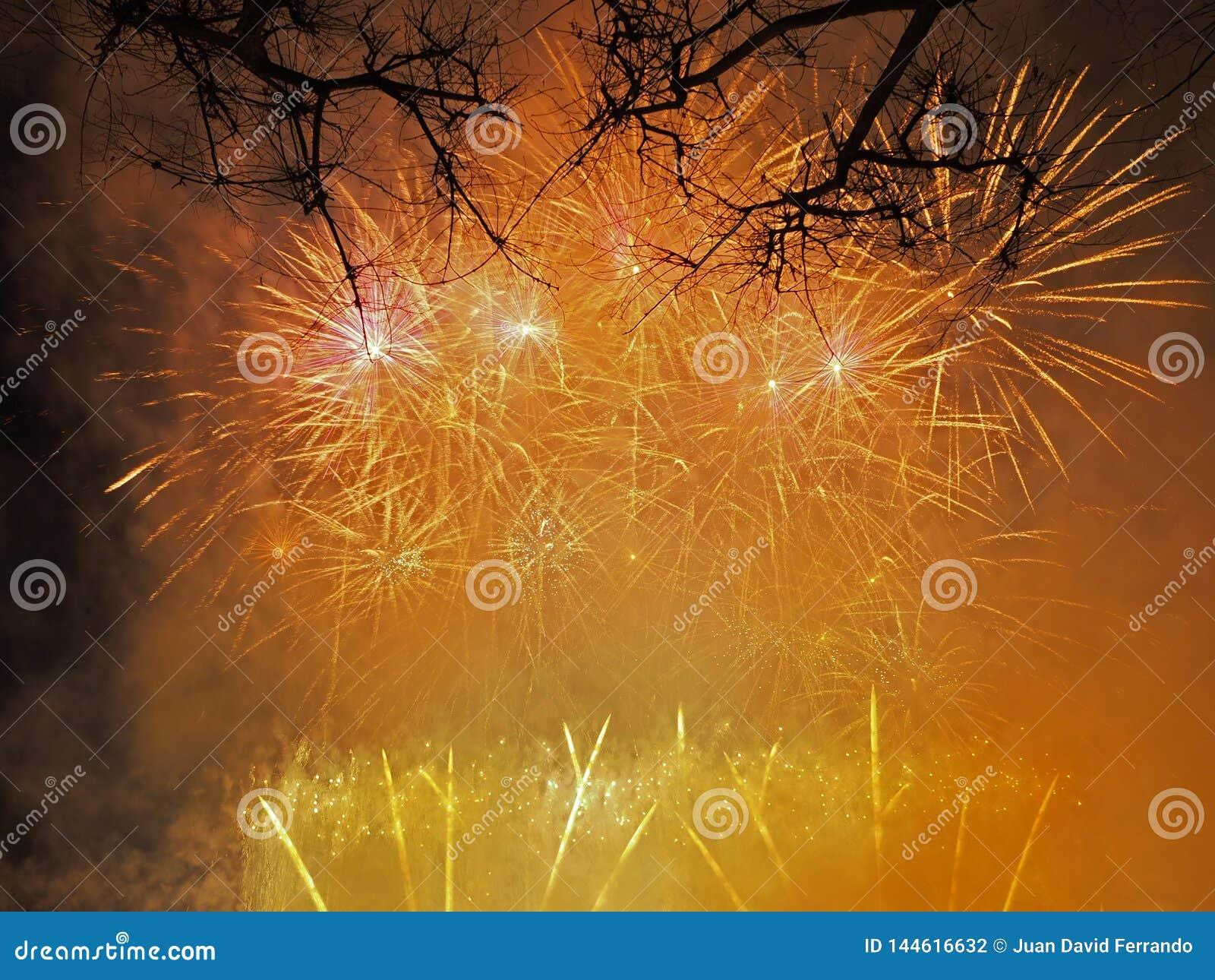 Kolorowi i piękni fajerwerki