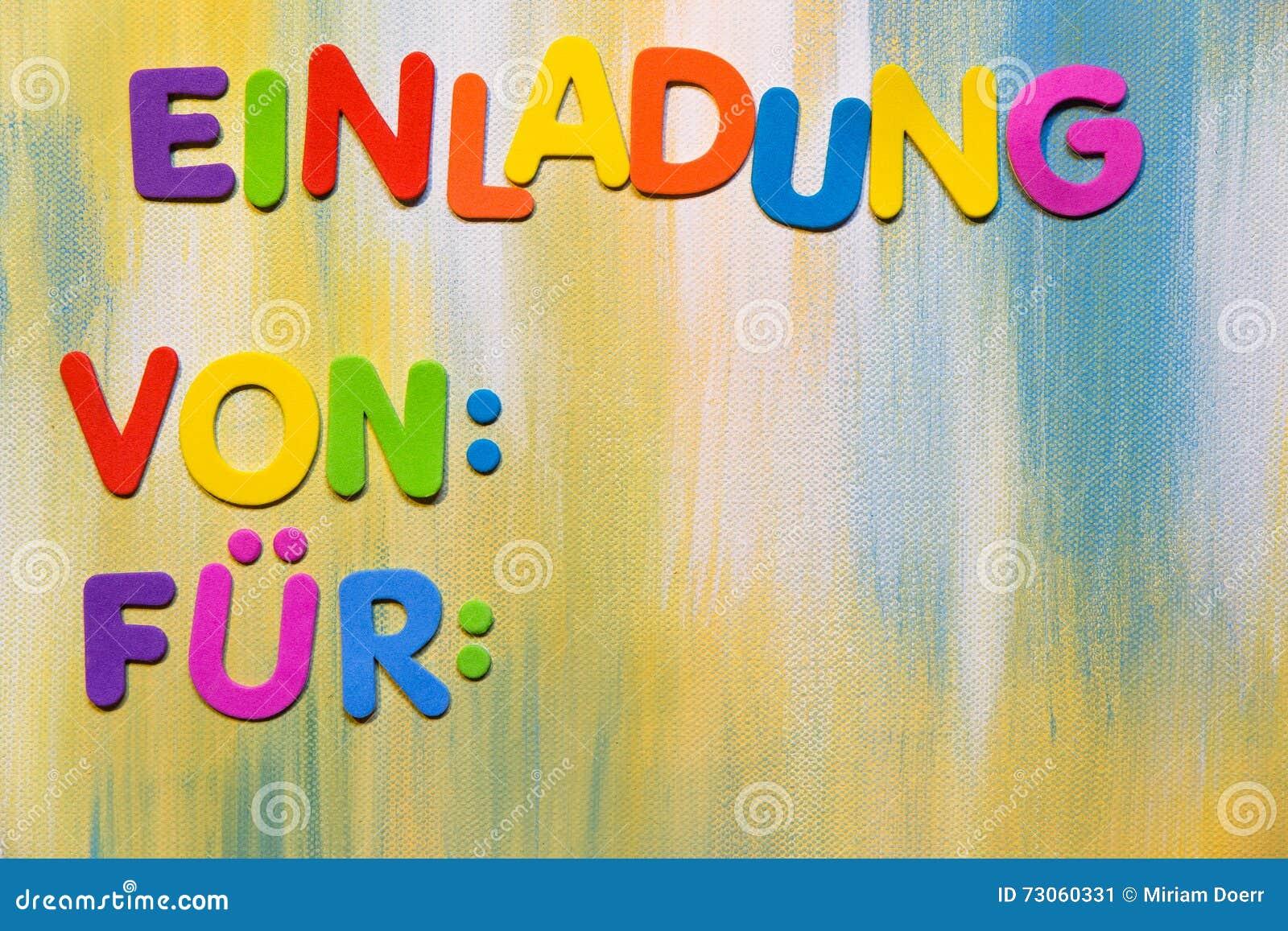 Kolorowi Listy Niemiecki Słowo Zaproszenie Obraz Stock Obraz