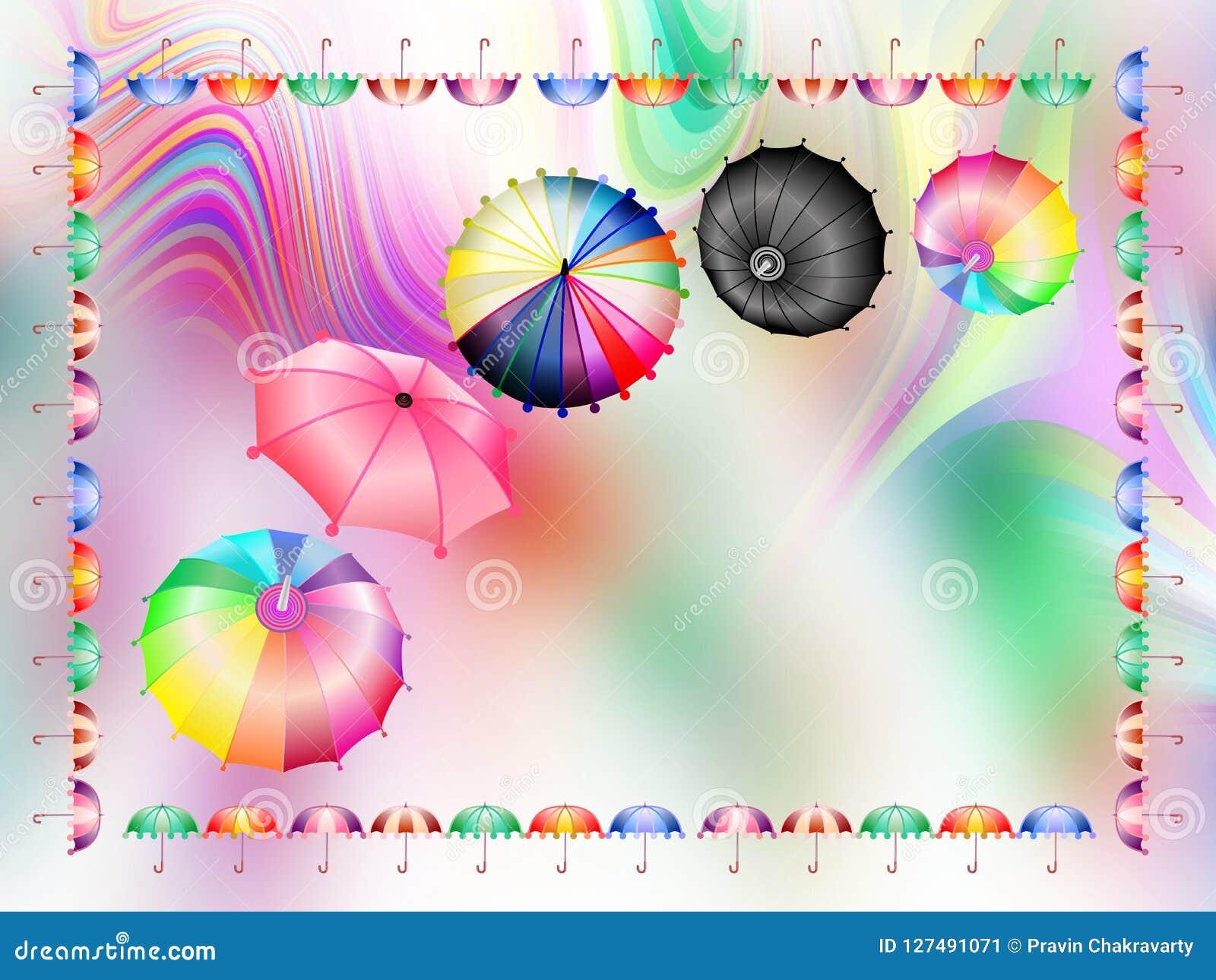 Kolorowi parasole combo, abstrakcjonistyczna tło tapeta, wektorowa ilustracja
