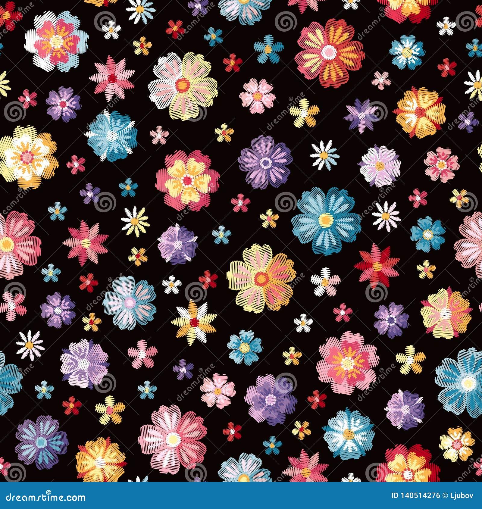 Kolorowi różni upiększeni kwiaty na czarnym tle wektor bezszwowy wzoru Kwiecista broderia