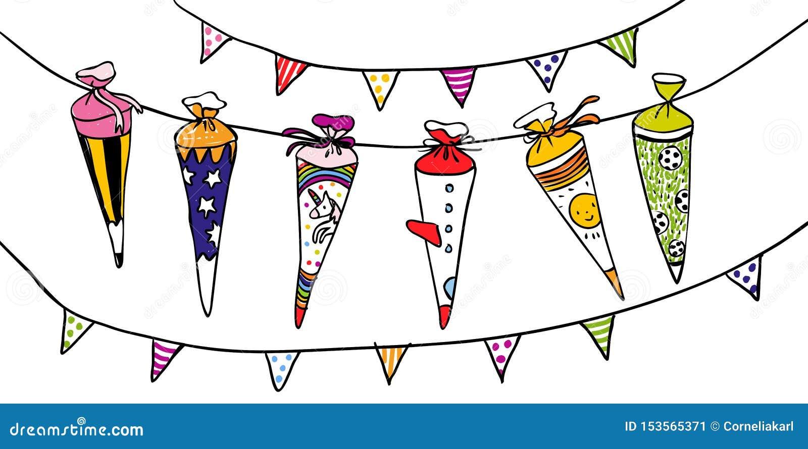 Kolorowi szkolni scones dla pierwszy dnia szkoła - wręcza patroszoną ilustrację dla horyzontalnych kart lub sztandarów