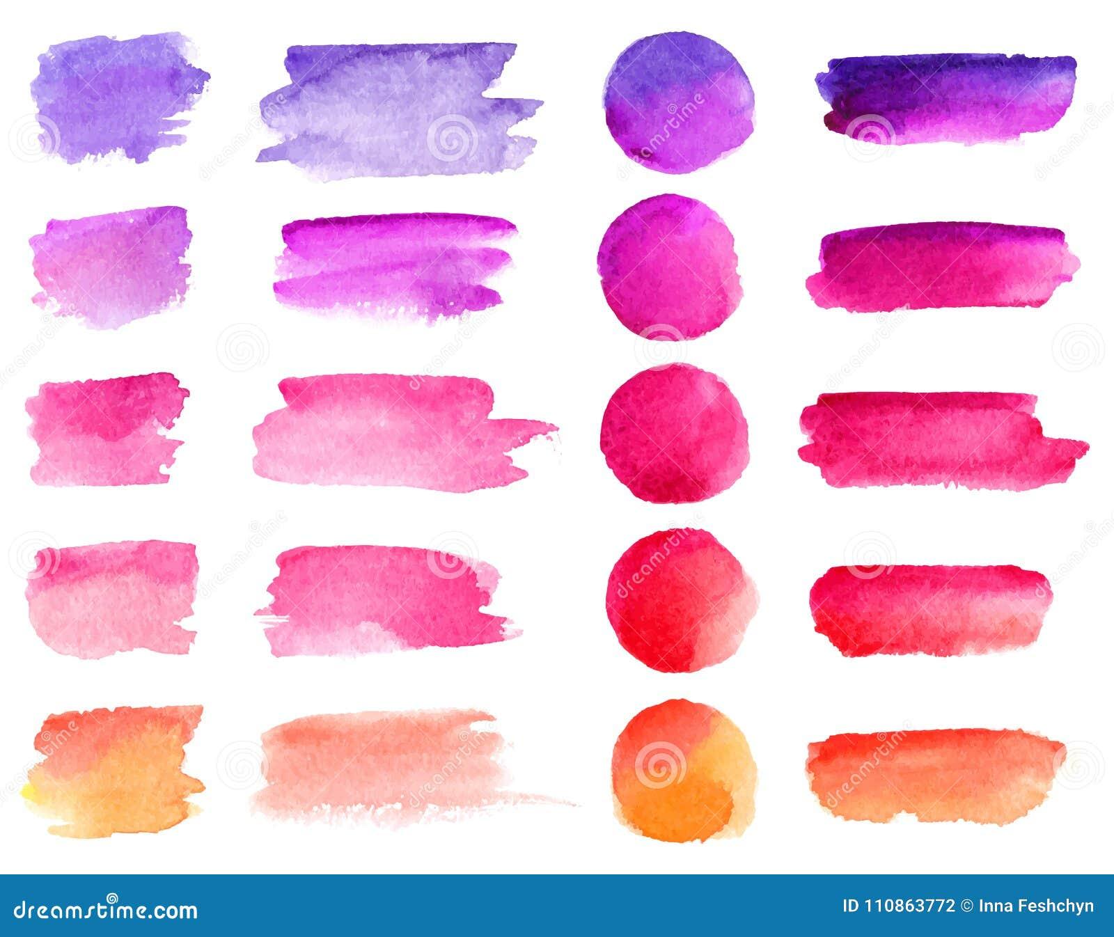 Kolorowi wektorowi akwareli muśnięcia uderzenia Tęcza kolorów akwareli farba plami wektorowych sztandarów tła ustawiających