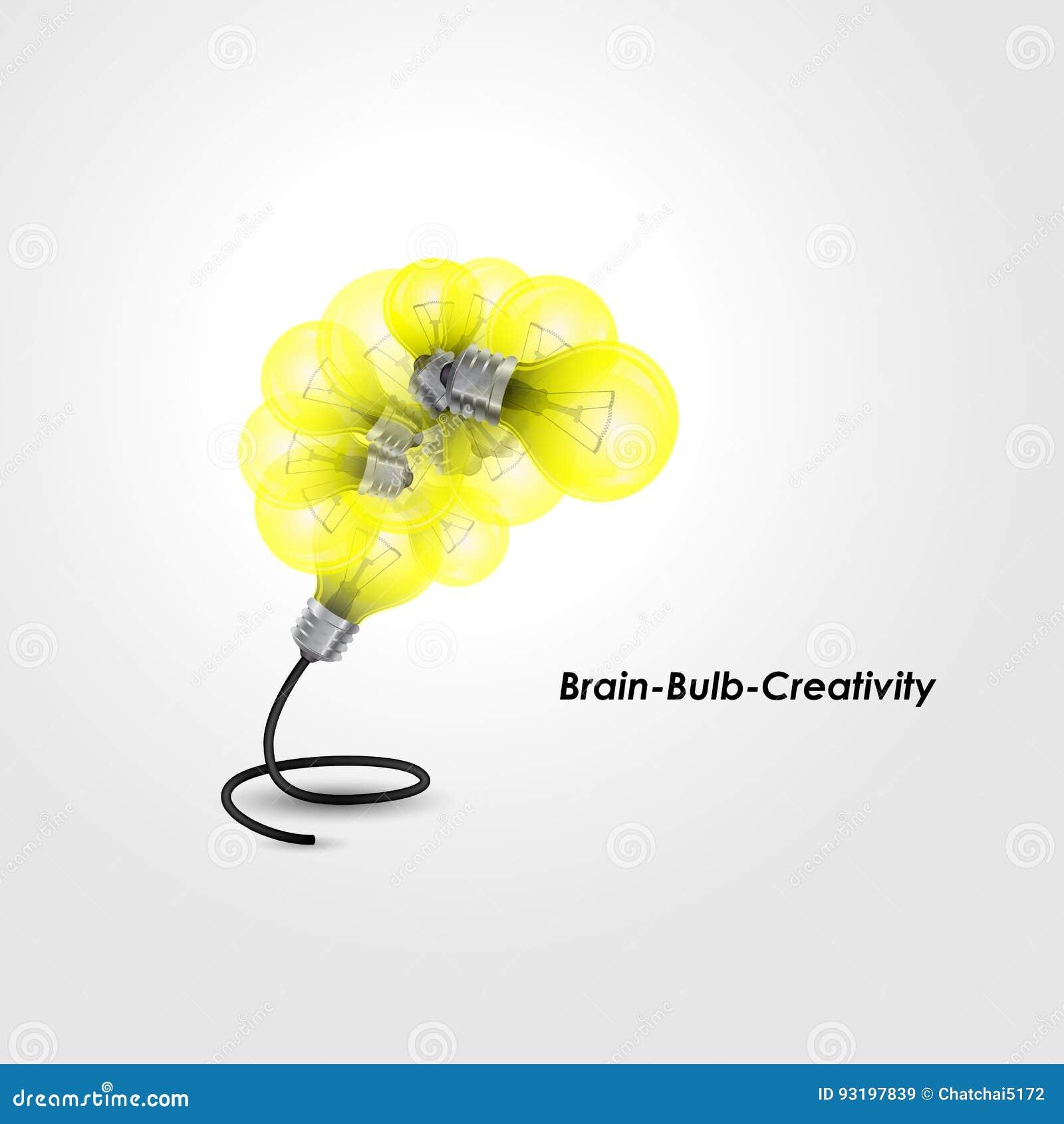 Kolorowy żarówka loga projekt i kreatywnie móżdżkowy pomysłu pojęcie